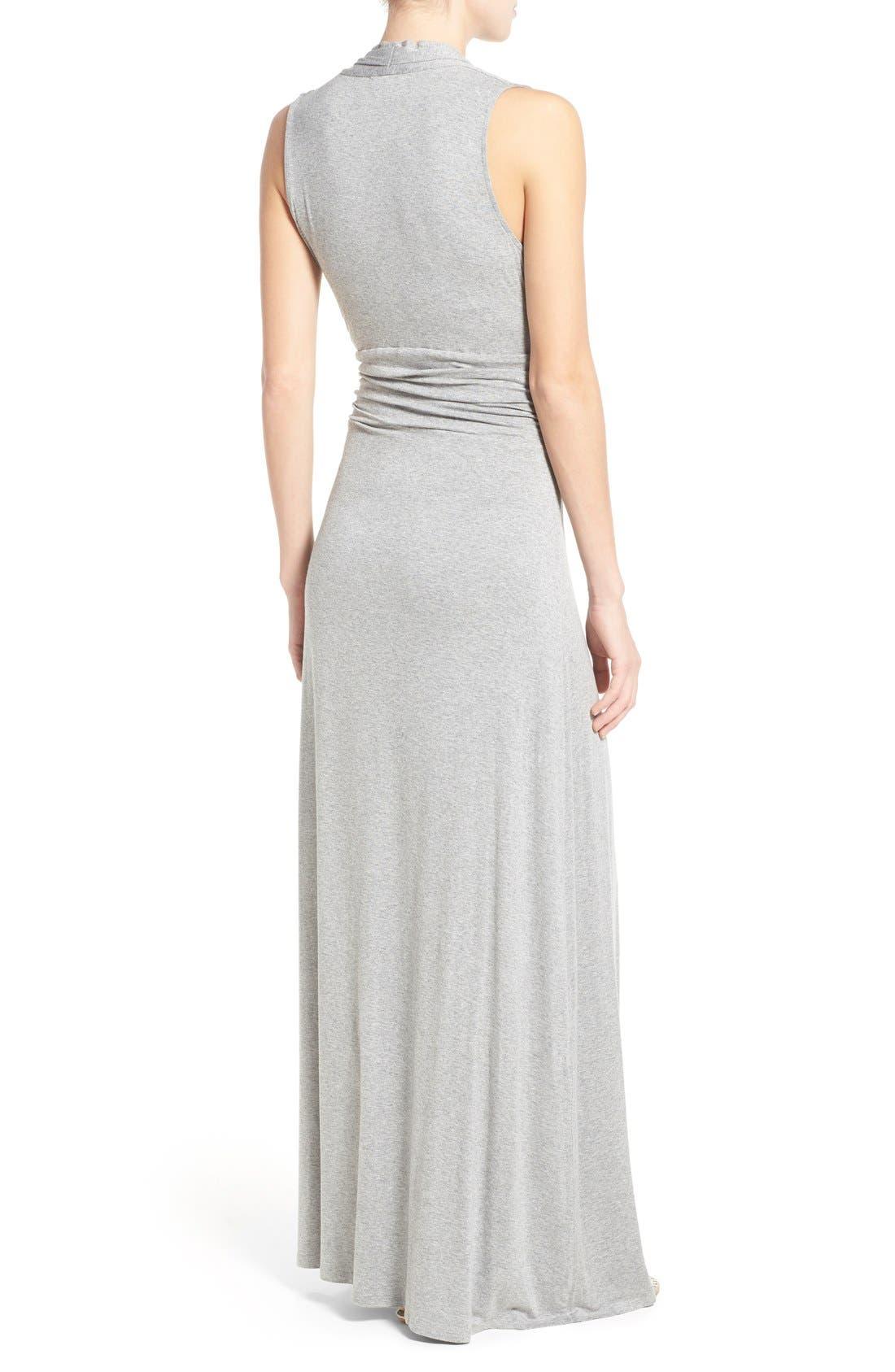 V-Neck Maxi Dress,                             Alternate thumbnail 2, color,                             Light Heather Grey