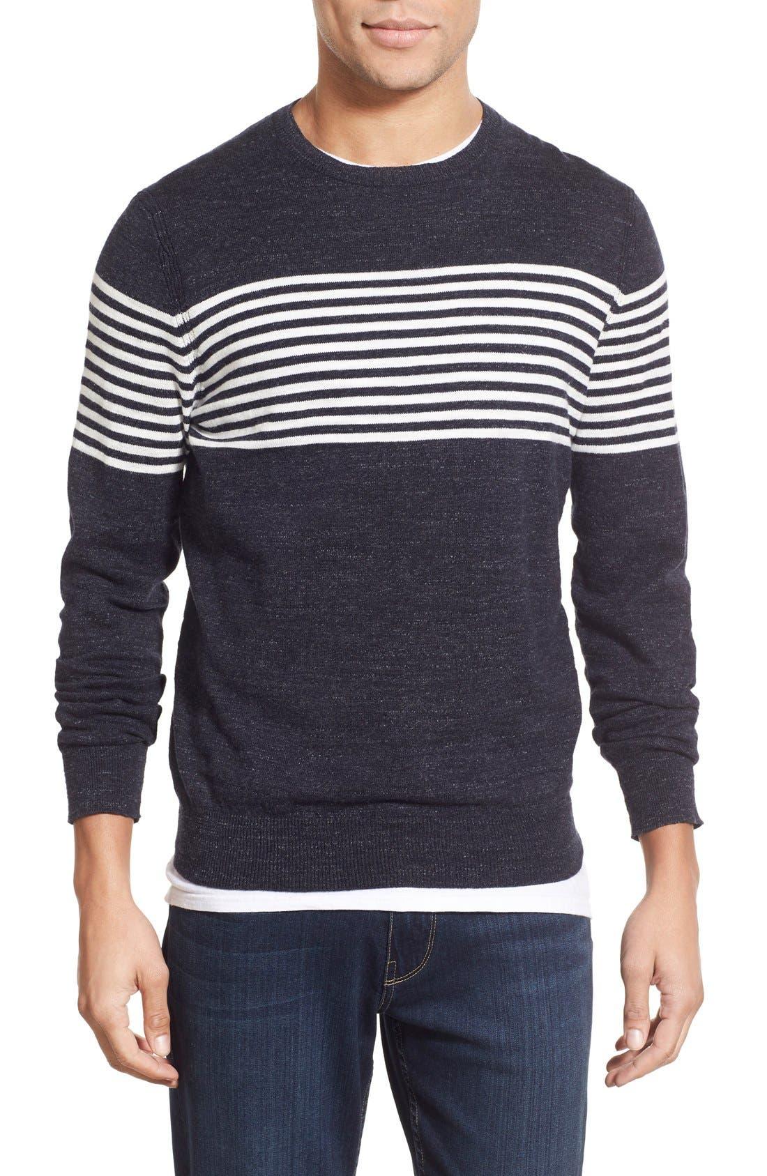 'Shore Club' Chest Stripe Crewneck Sweater,                             Main thumbnail 1, color,                             Navy