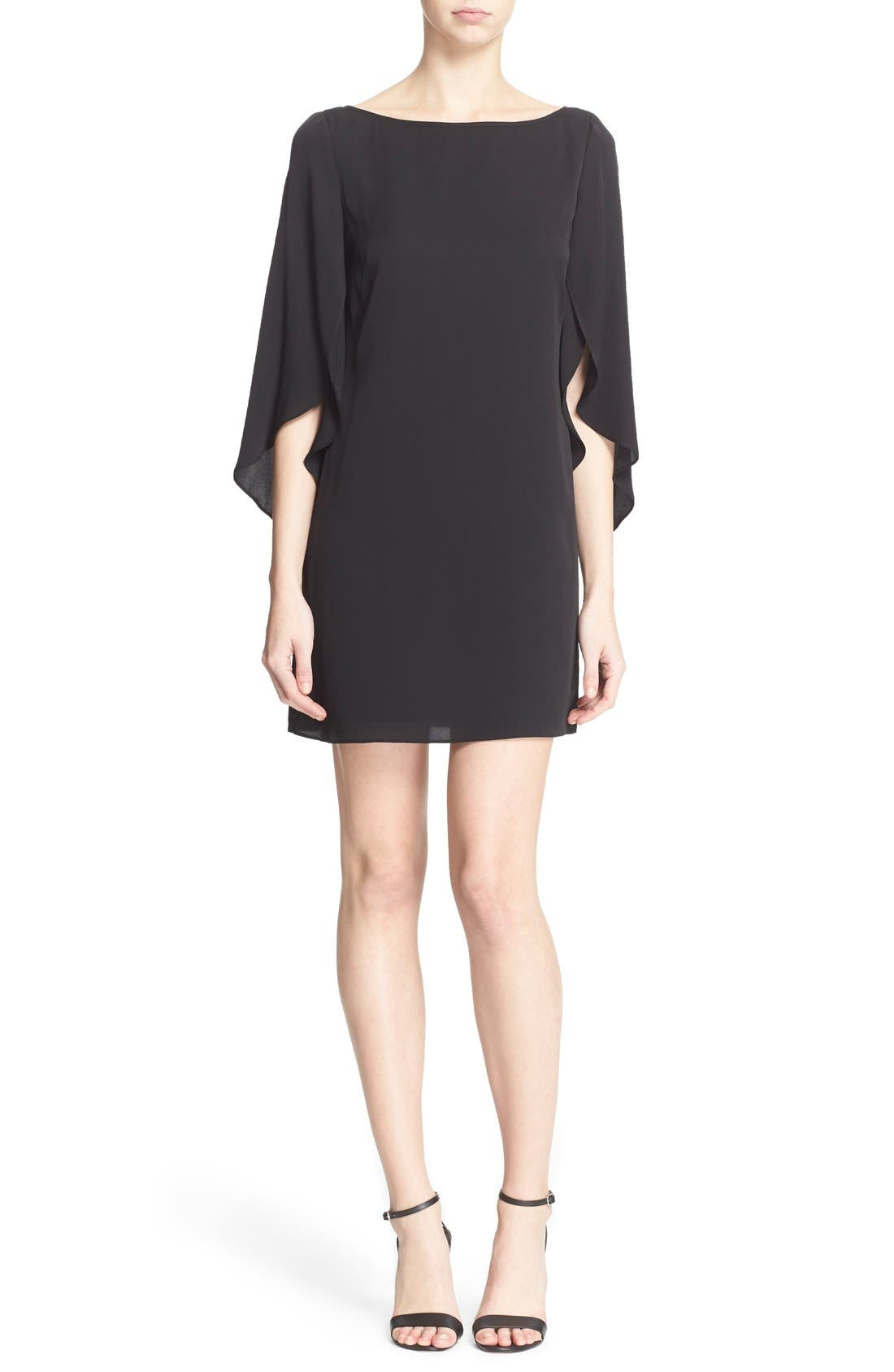 Butterfly Sleeve Stretch Silk Crepe Minidress,                         Main,                         color, Black