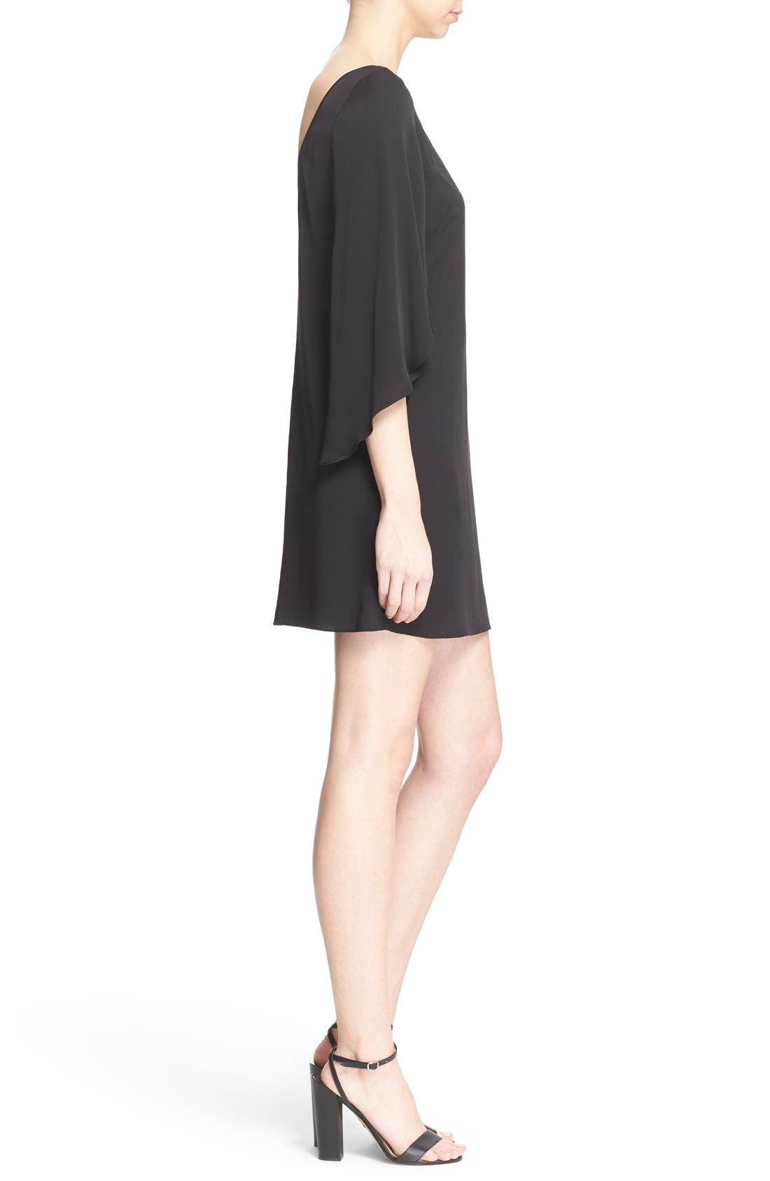 Butterfly Sleeve Stretch Silk Crepe Minidress,                             Alternate thumbnail 3, color,                             Black