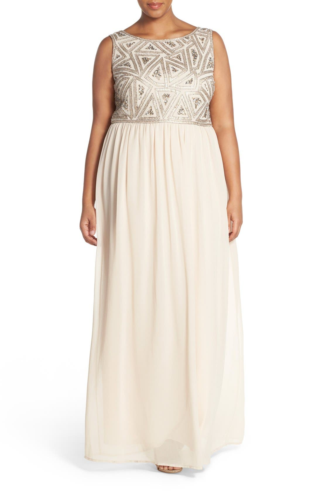 Main Image - Adrianna Papell Beaded Bodice A-Line Gown (Plus Size)