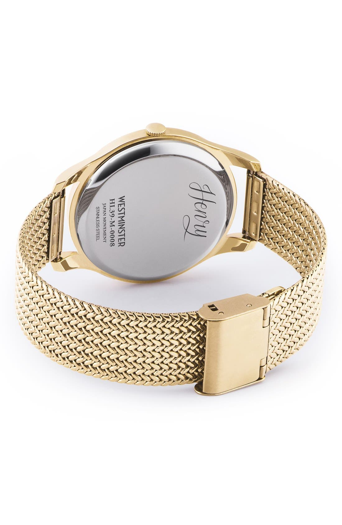 'Westminster' Mesh Strap Watch, 38mm,                             Alternate thumbnail 2, color,                             Gold/ White