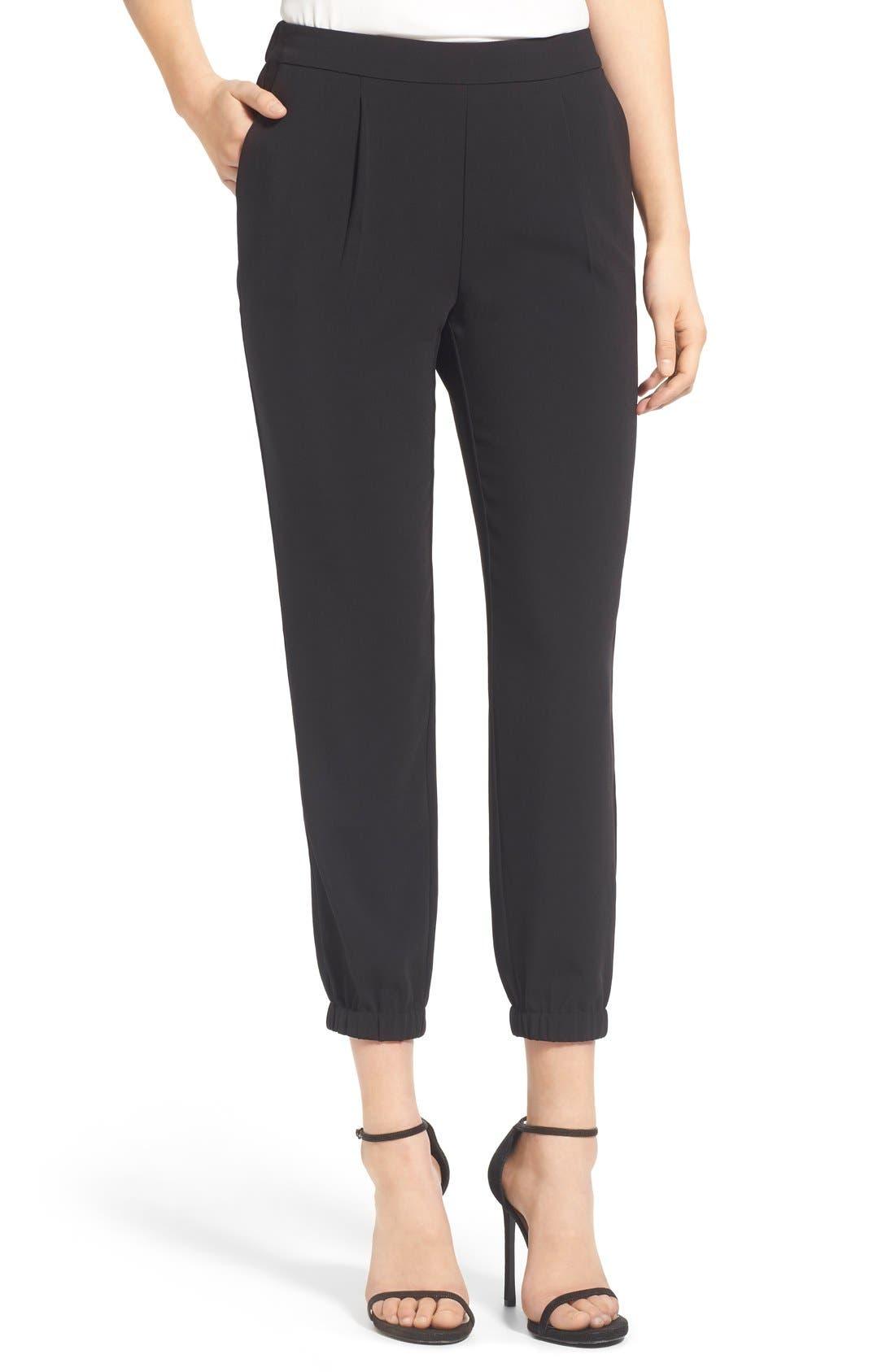 Stretch Crepe Jogger Pants,                         Main,                         color, Black