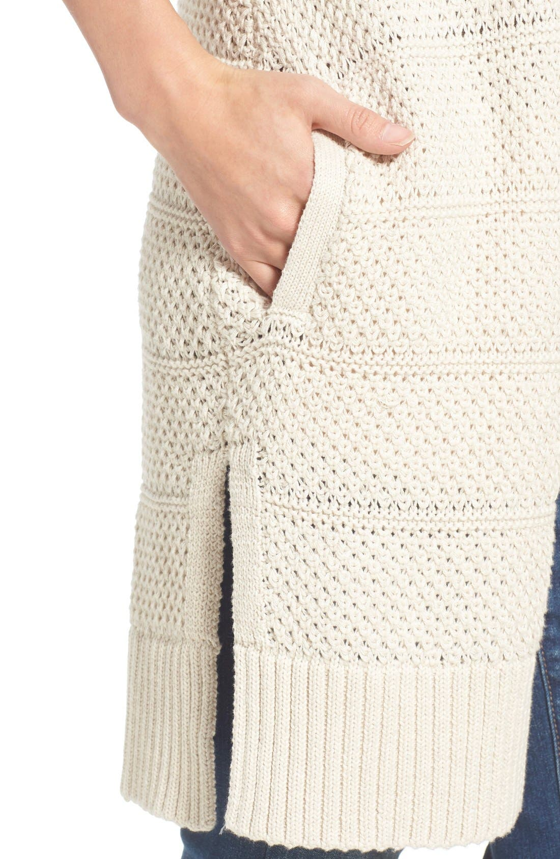 Alternate Image 4  - Caslon® Open Stitch Long Cotton Cardigan (Regular & Petite)
