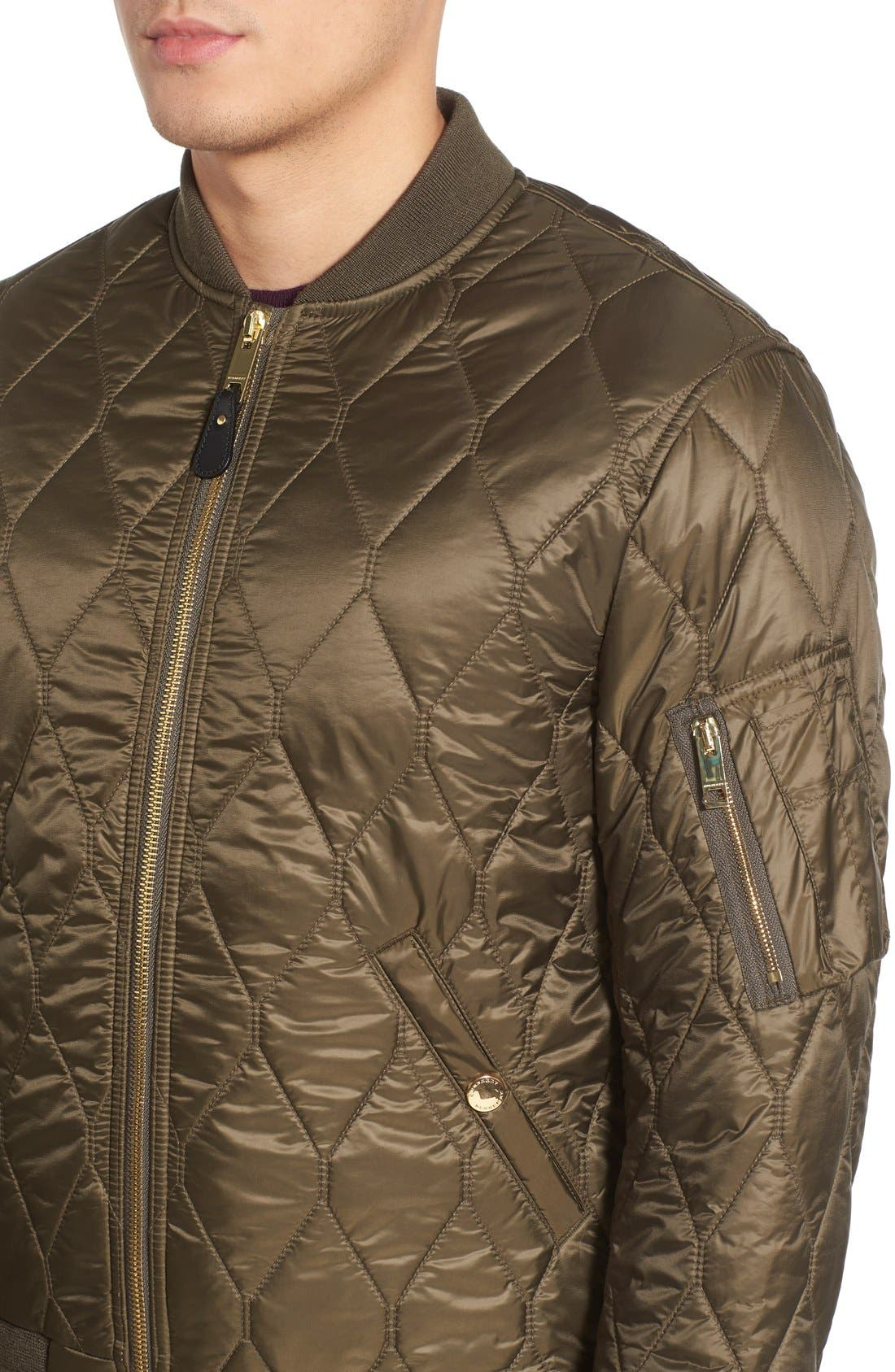 The Britain 'Grandy Aboyg' Quilted Bomber,                             Alternate thumbnail 4, color,                             Oregano
