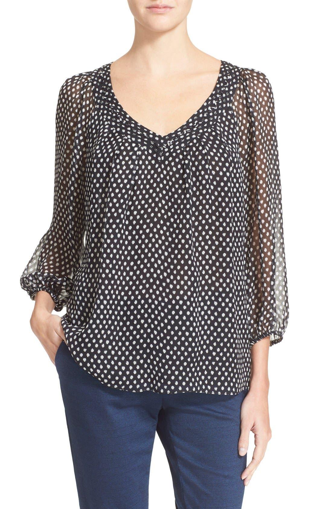 'Davi' Silk Peasant Top,                         Main,                         color, Dotted Batik/ Tiny Black