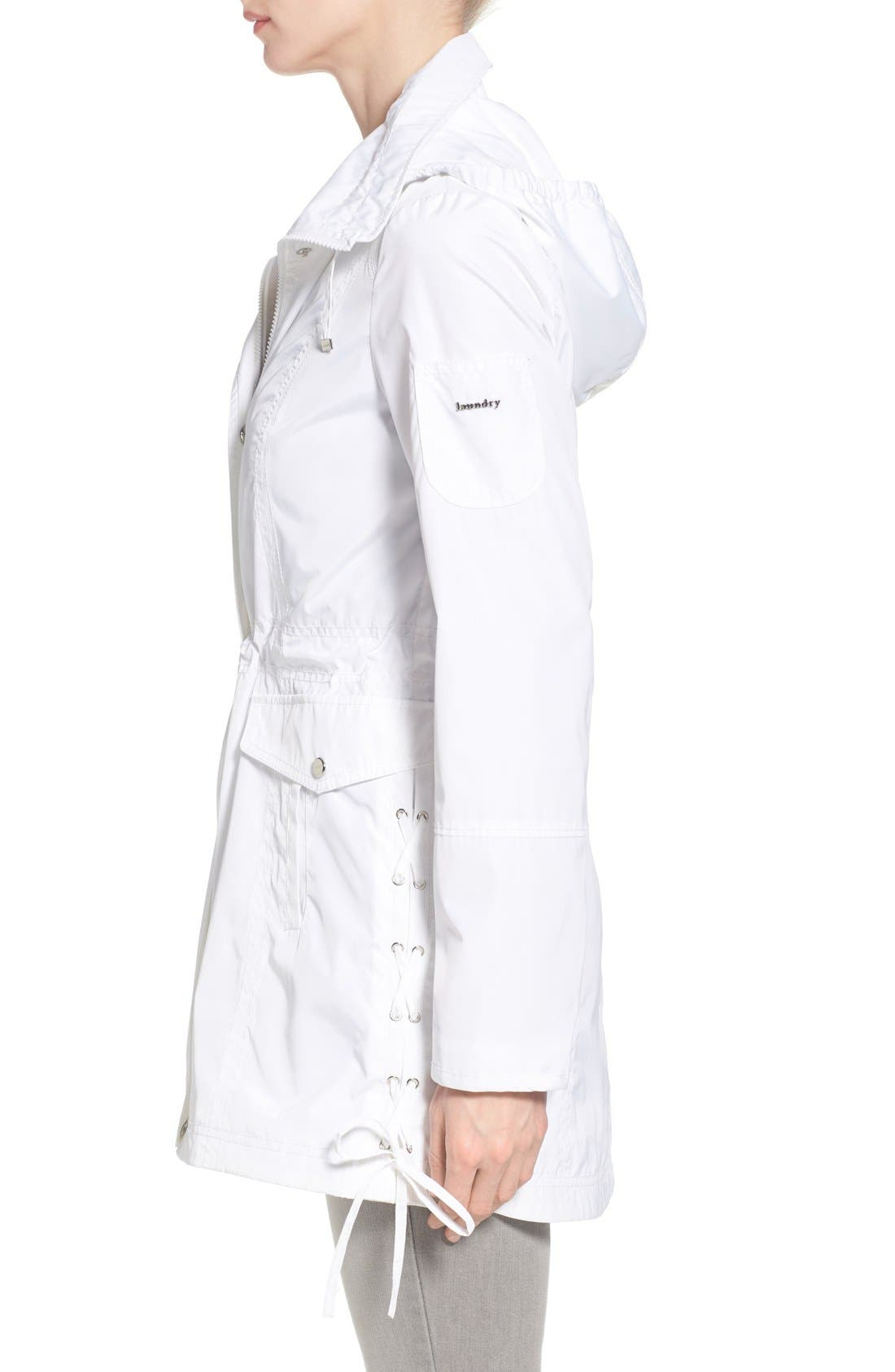 Windbreaker with Lace-Up Sides,                             Alternate thumbnail 3, color,                             White