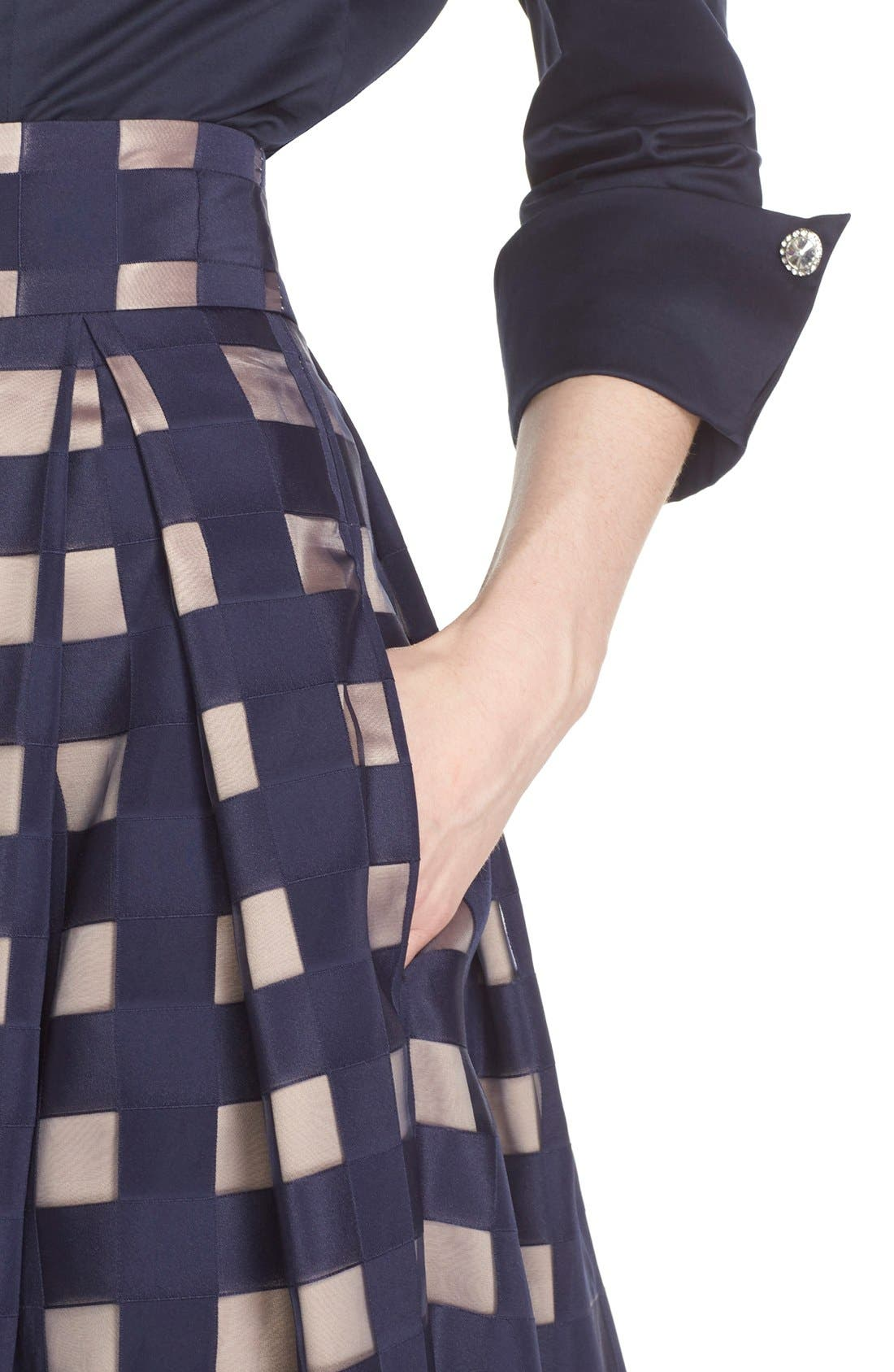 Alternate Image 3  - Eliza J Windowpane Satin Ball Skirt