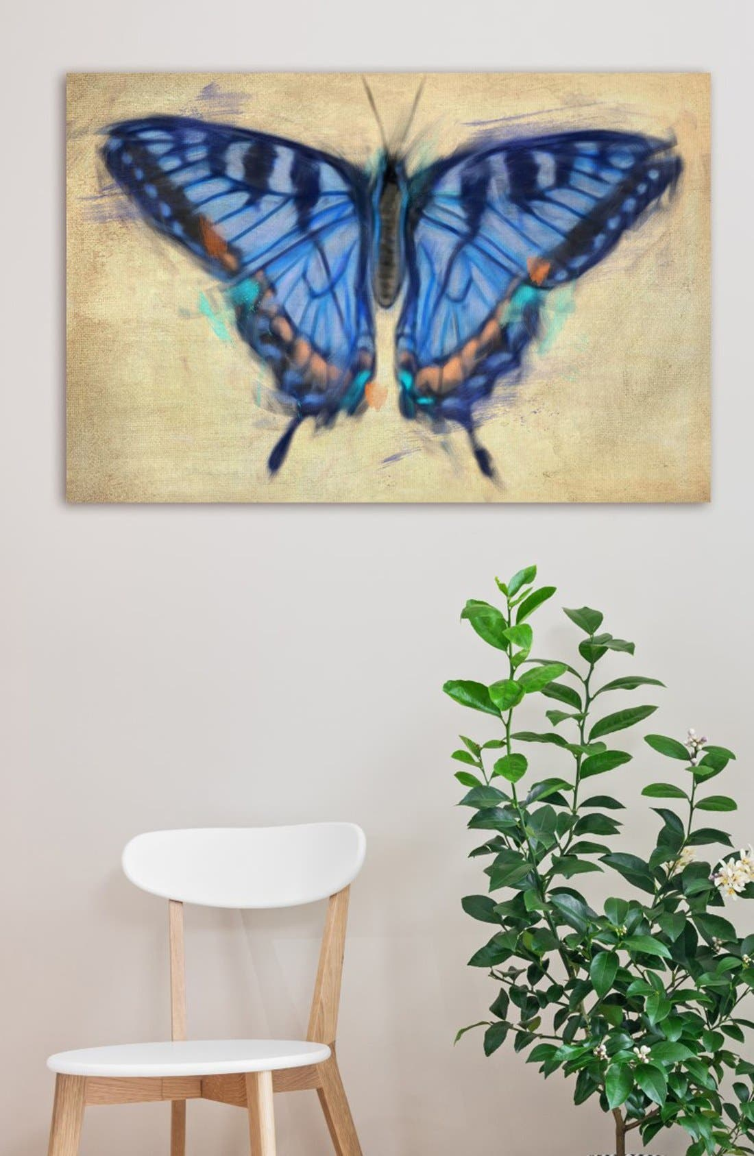 'Blissful Butterfly' Canvas Wall Art,                             Alternate thumbnail 2, color,                             Blue