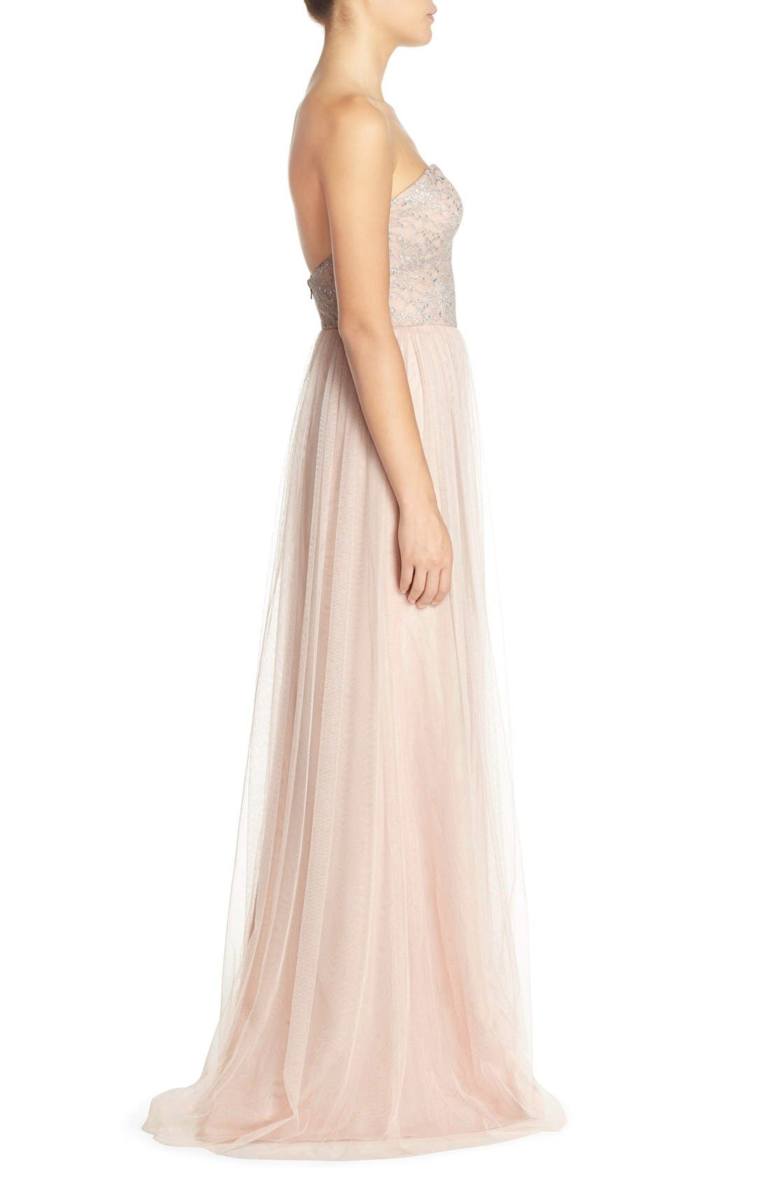 Alternate Image 3  - Hayley Paige Occasions Strapless Metallic Lace & Net Gown