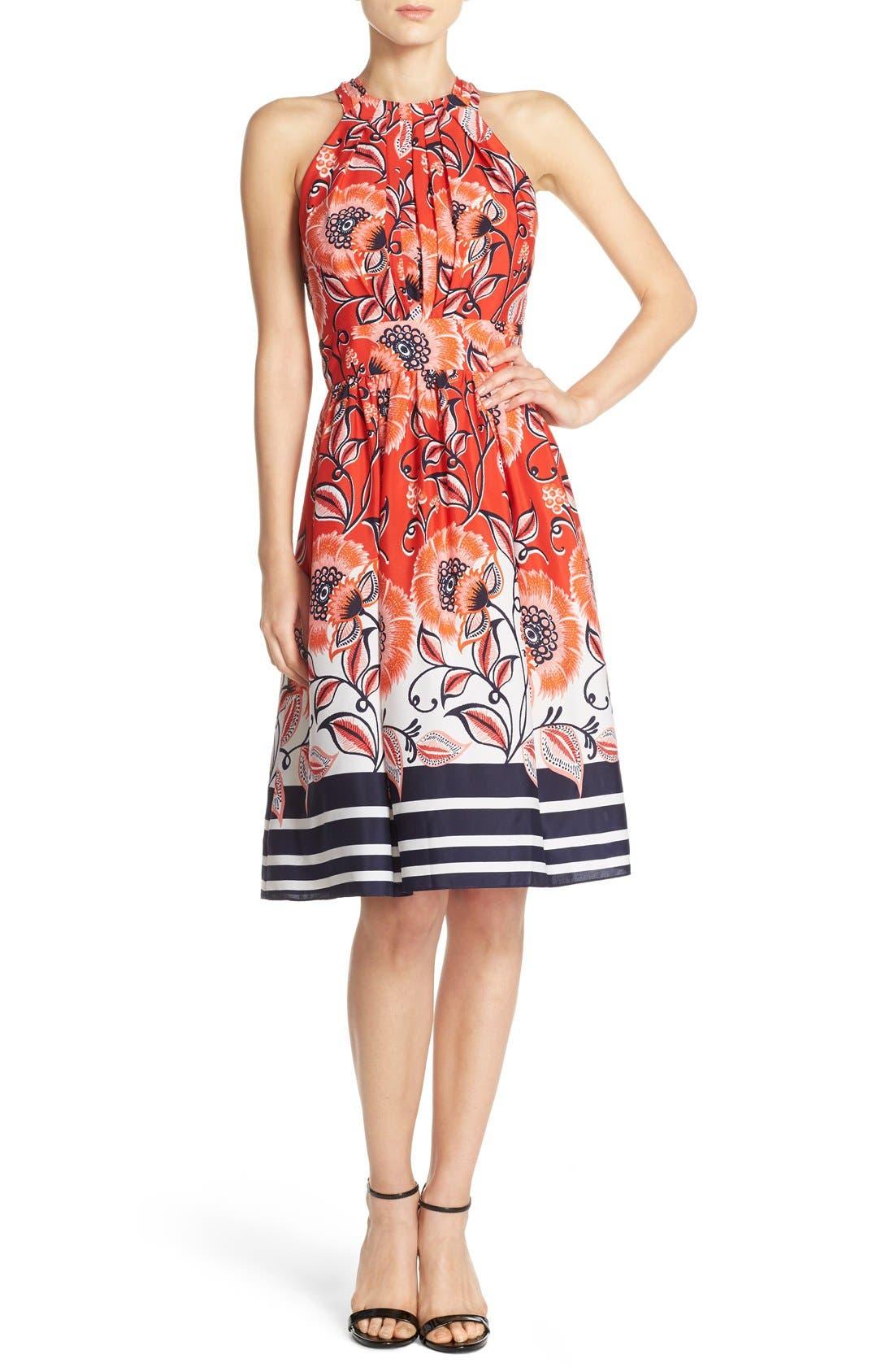 Alternate Image 4  - Eliza J Mixed Print Crêpe de Chine Fit & Flare Dress
