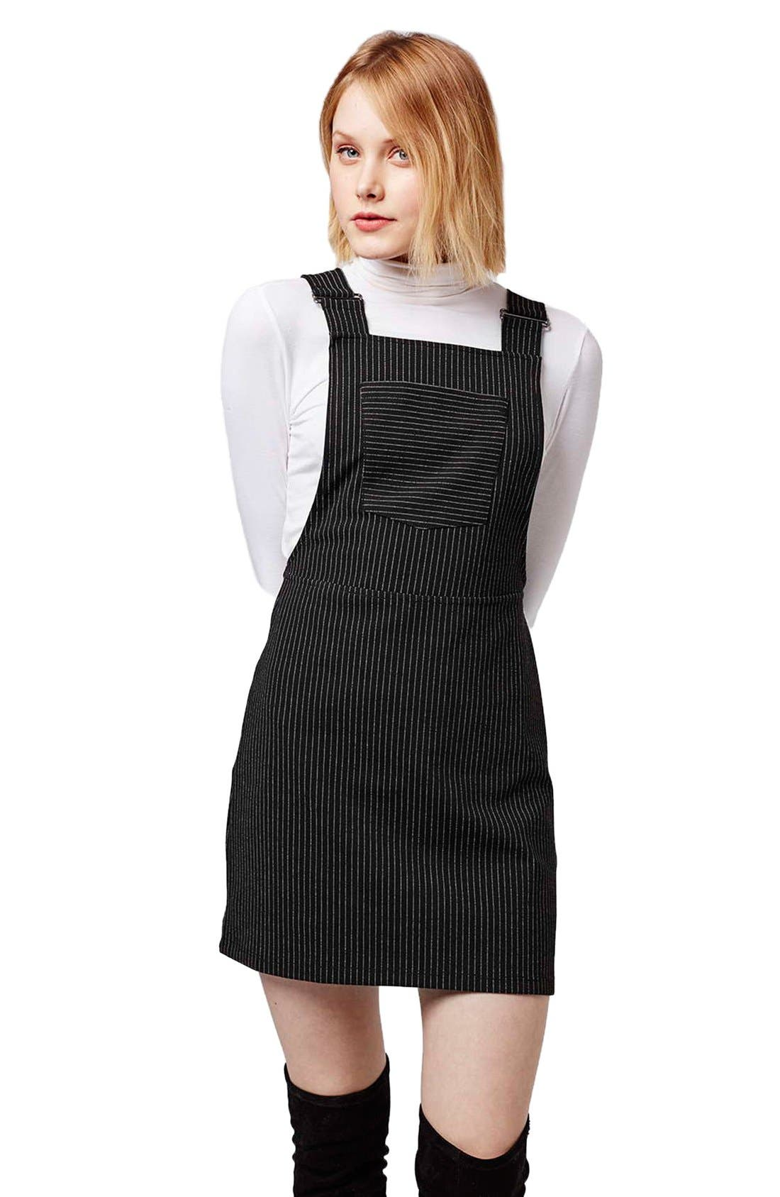 Alternate Image 4  - Topshop Pinstripe Pinafore Dress