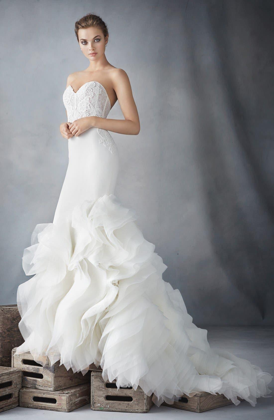 Strapless Lace, Crepe & Organza Trumpet Gown,                             Alternate thumbnail 3, color,                             Ivory