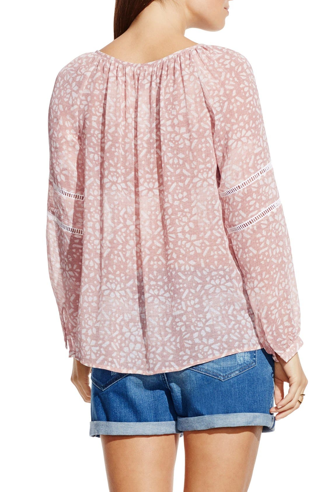 Alternate Image 2  - Two by Vince Camuto 'Woodblock Petals' Peasant Blouse