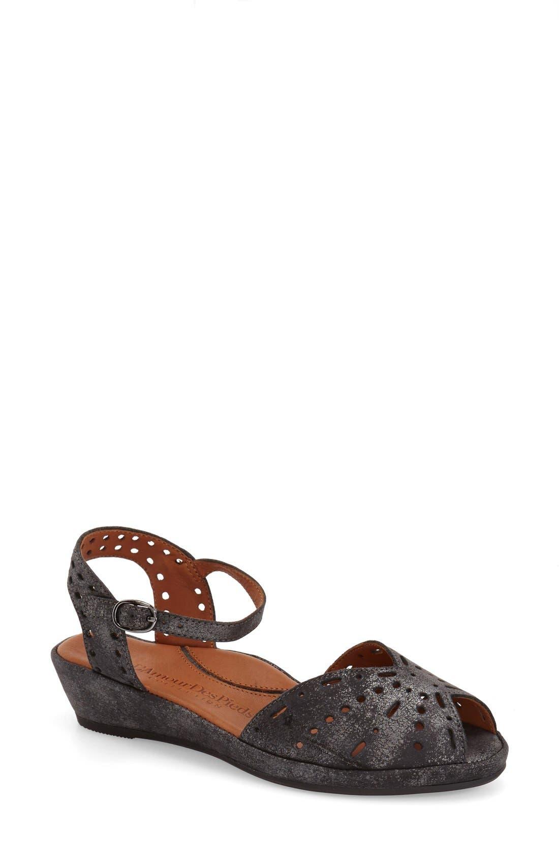 'Brenn' Ankle Strap Sandal,                         Main,                         color, Graphite Leather