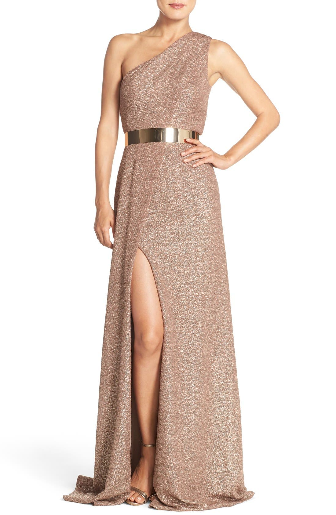 Main Image - David Meister Belted Metallic Knit Gown