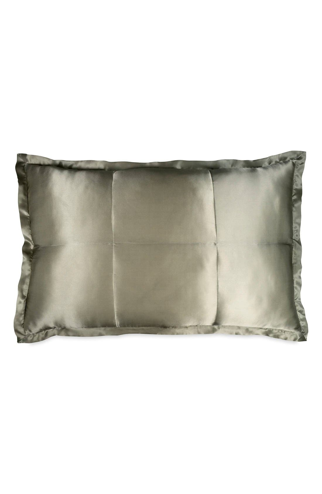 Donna Karan Collection 'Exhale' Quilted Silk Charmeuse Sham,                             Main thumbnail 1, color,                             Moss