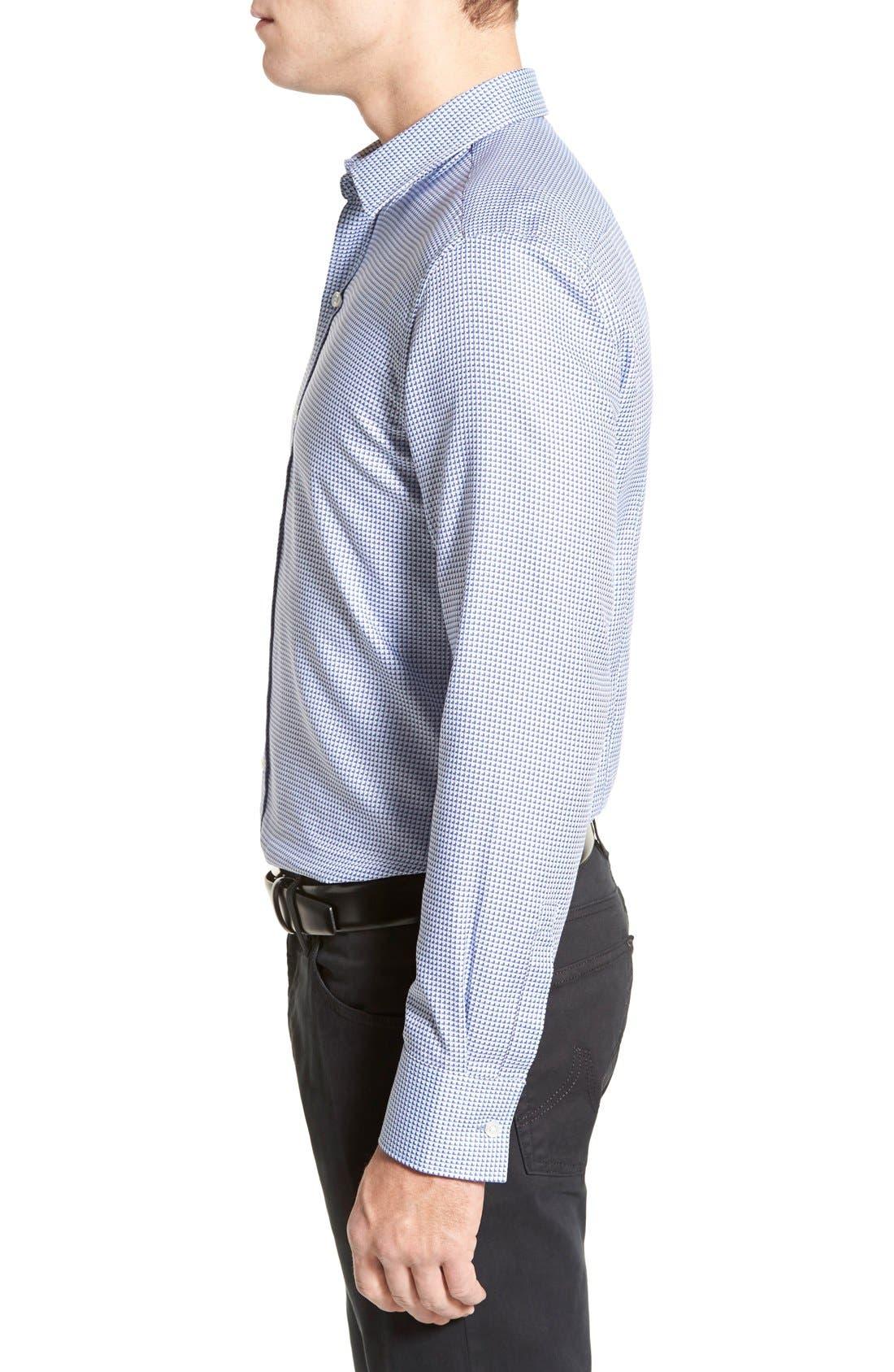 'Robbie' Slim Fit Sport Shirt,                             Alternate thumbnail 3, color,                             Turquoise