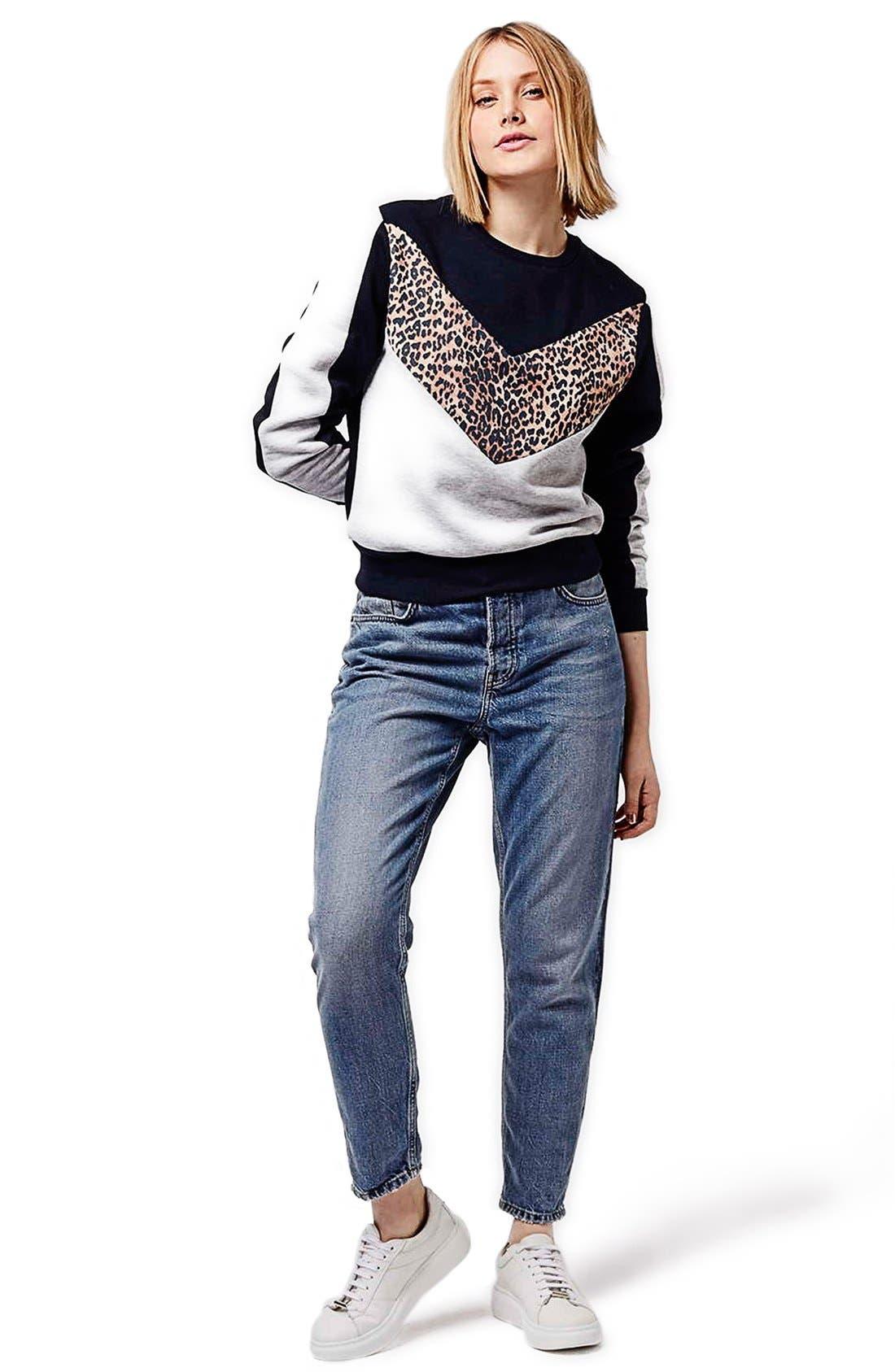Alternate Image 2  - Topshop Leopard Print Colorblock Sweatshirt (Regular & Petite)
