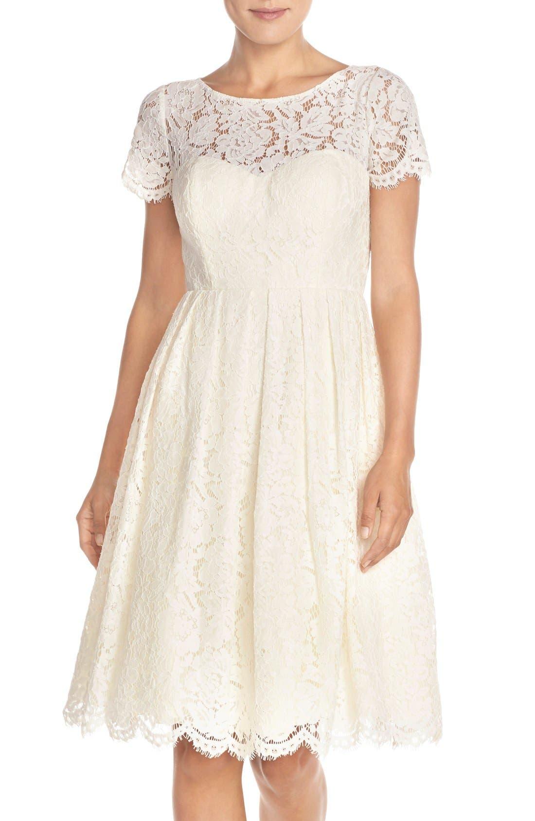 Cadence Keyhole Back Lace Fit & Flare Dress,                         Main,                         color, Ivory
