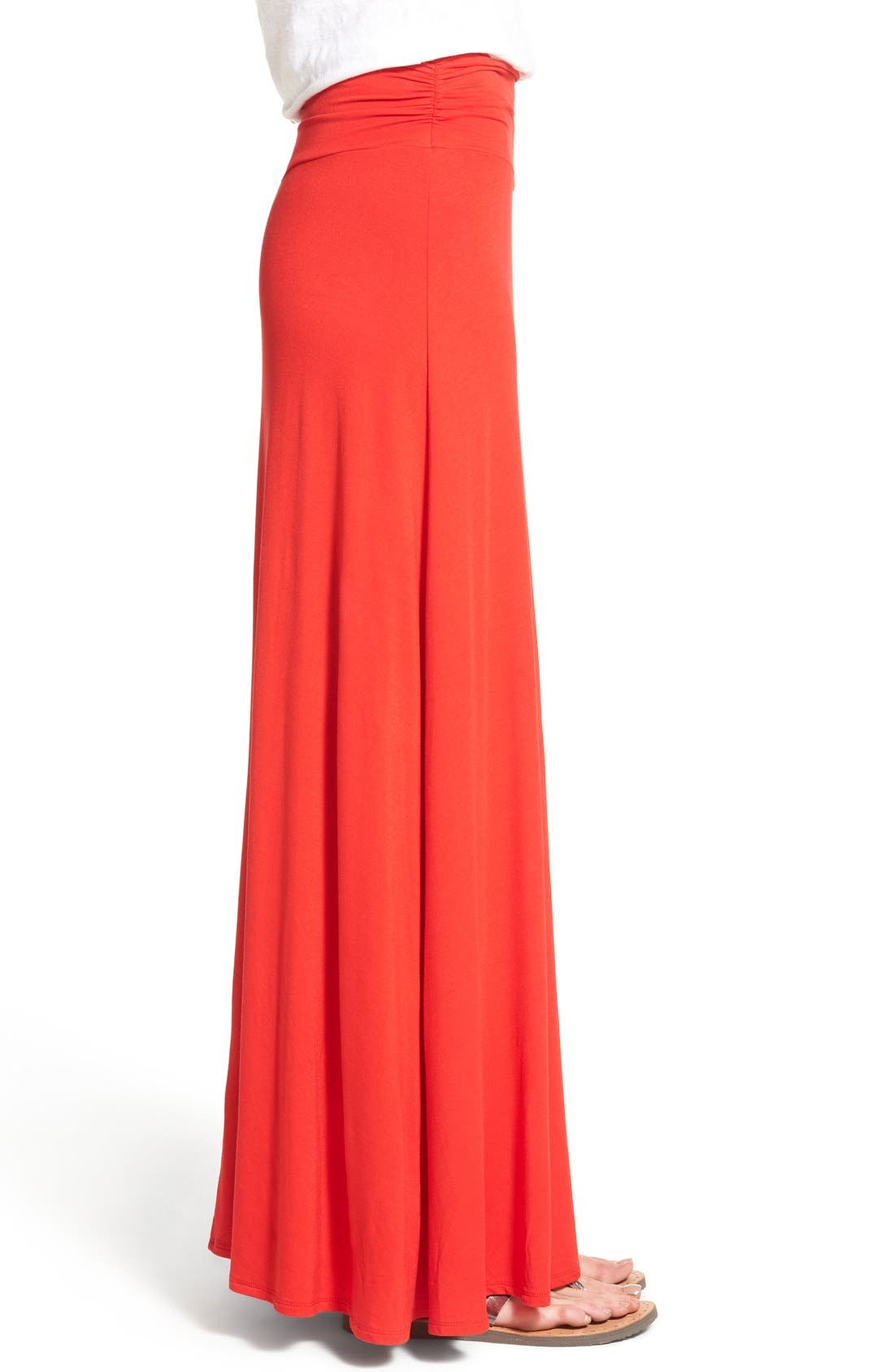 Alternate Image 3  - Bobeau Ruched Waist Side Slit Maxi Skirt (Regular & Petite)