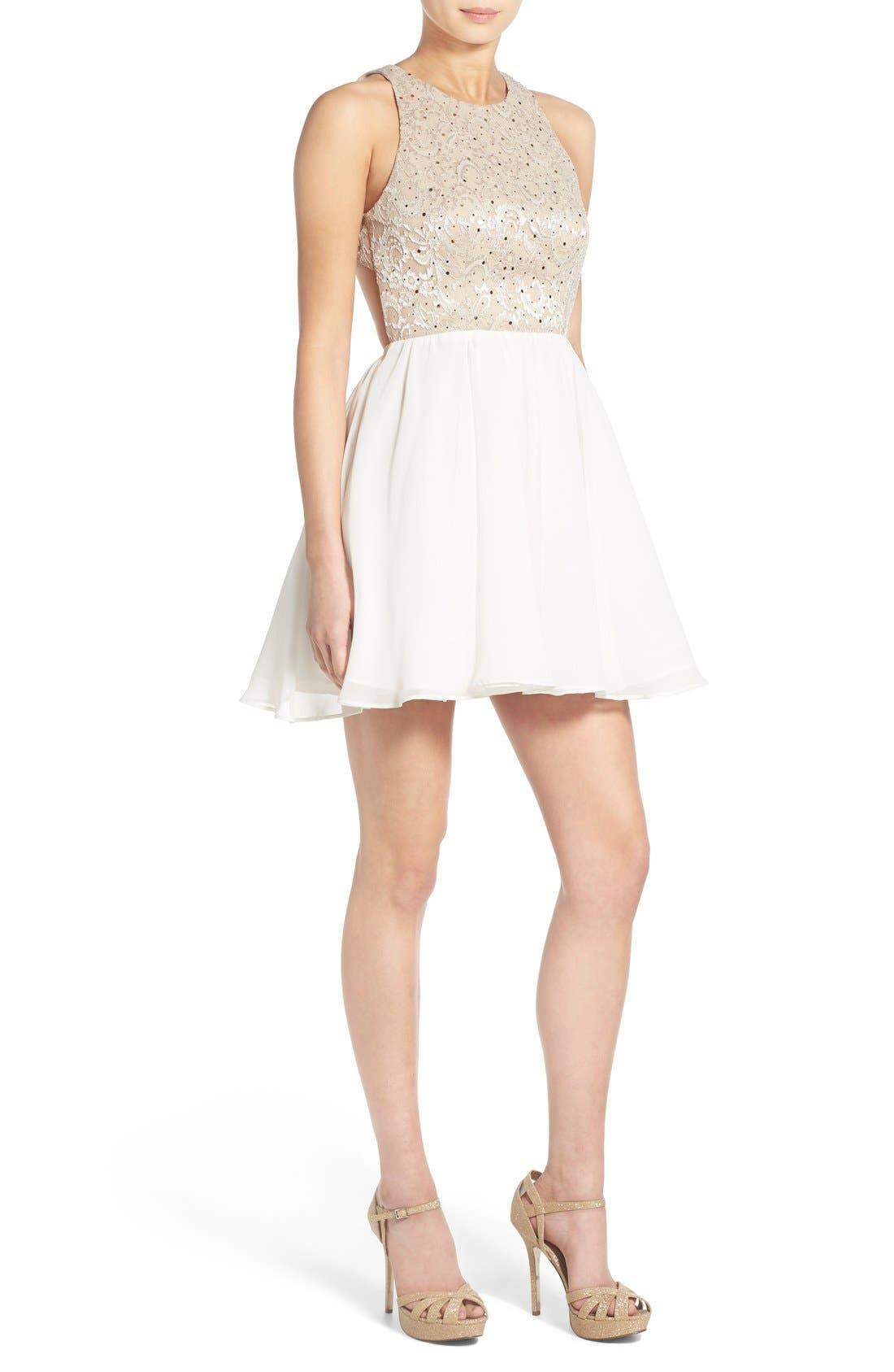 Main Image - Dear Moon Sequin Bodice Skater Dress