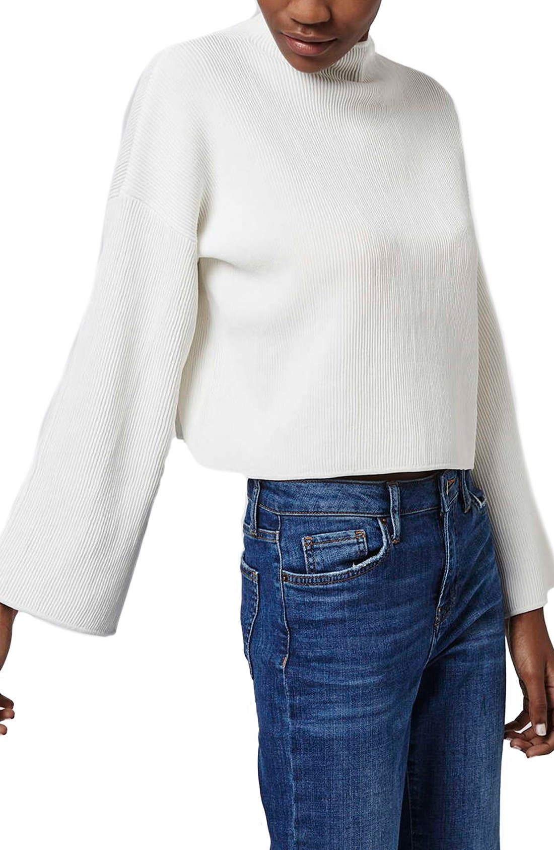 Alternate Image 1 Selected - Topshop Funnel Neck Ribbed Crop Top