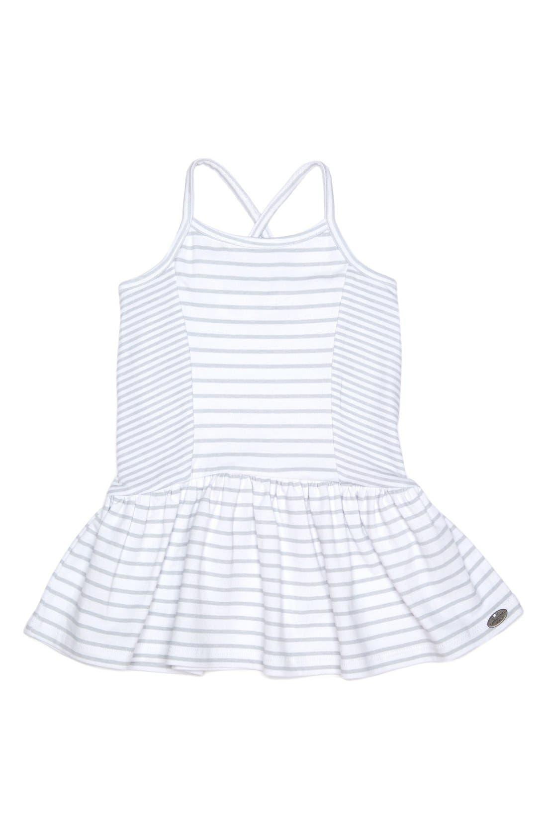 Stripe Sleeveless Dress,                             Main thumbnail 1, color,                             White/ Grey