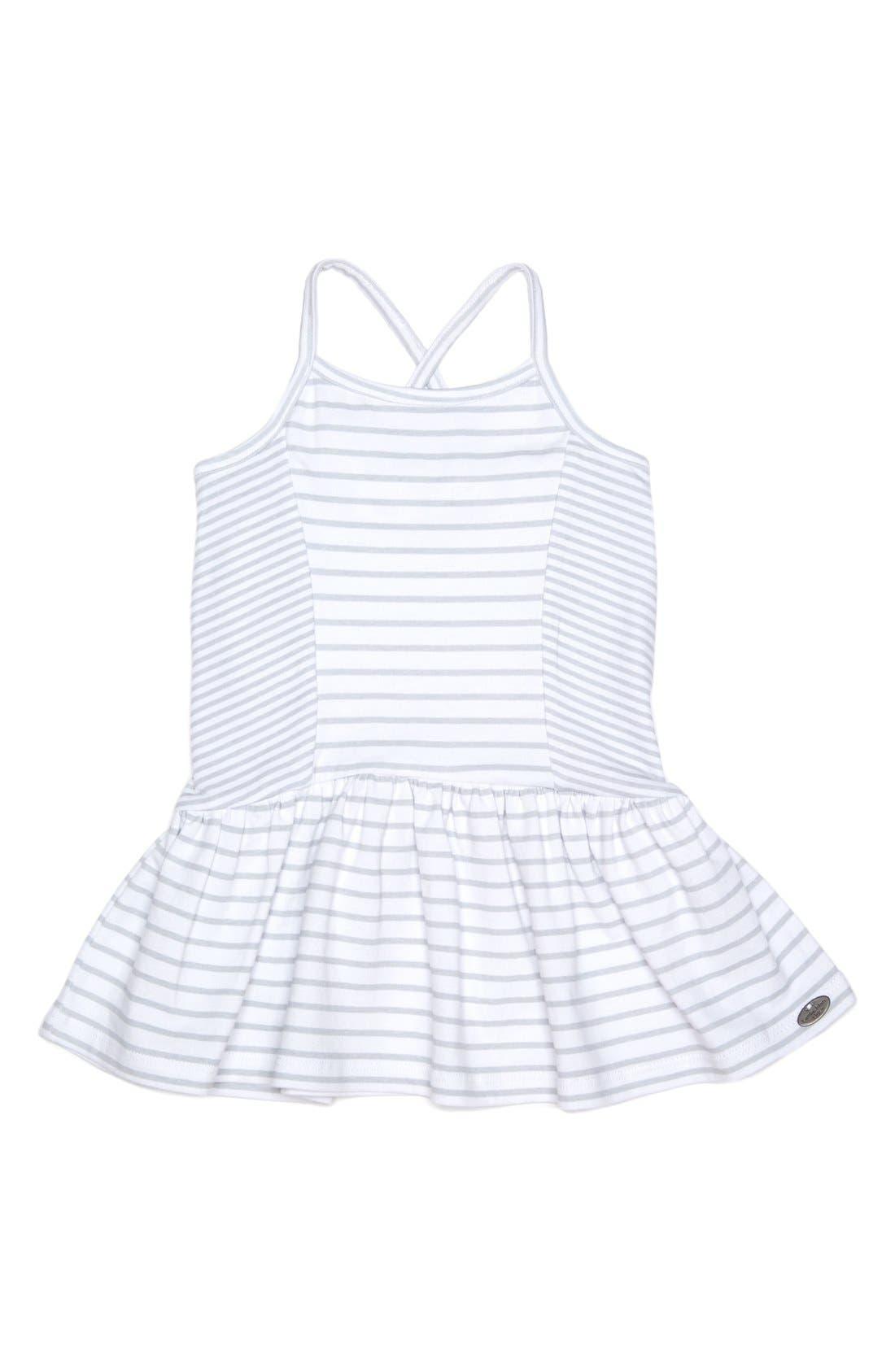 Stripe Sleeveless Dress,                         Main,                         color, White/ Grey
