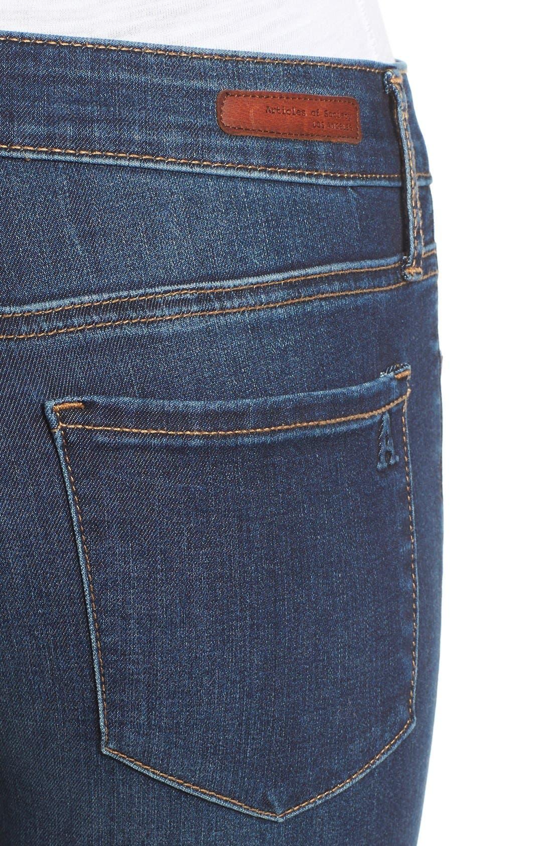 Alternate Image 4  - Articles of Society 'Mya' Skinny Jeans (Tahoe)