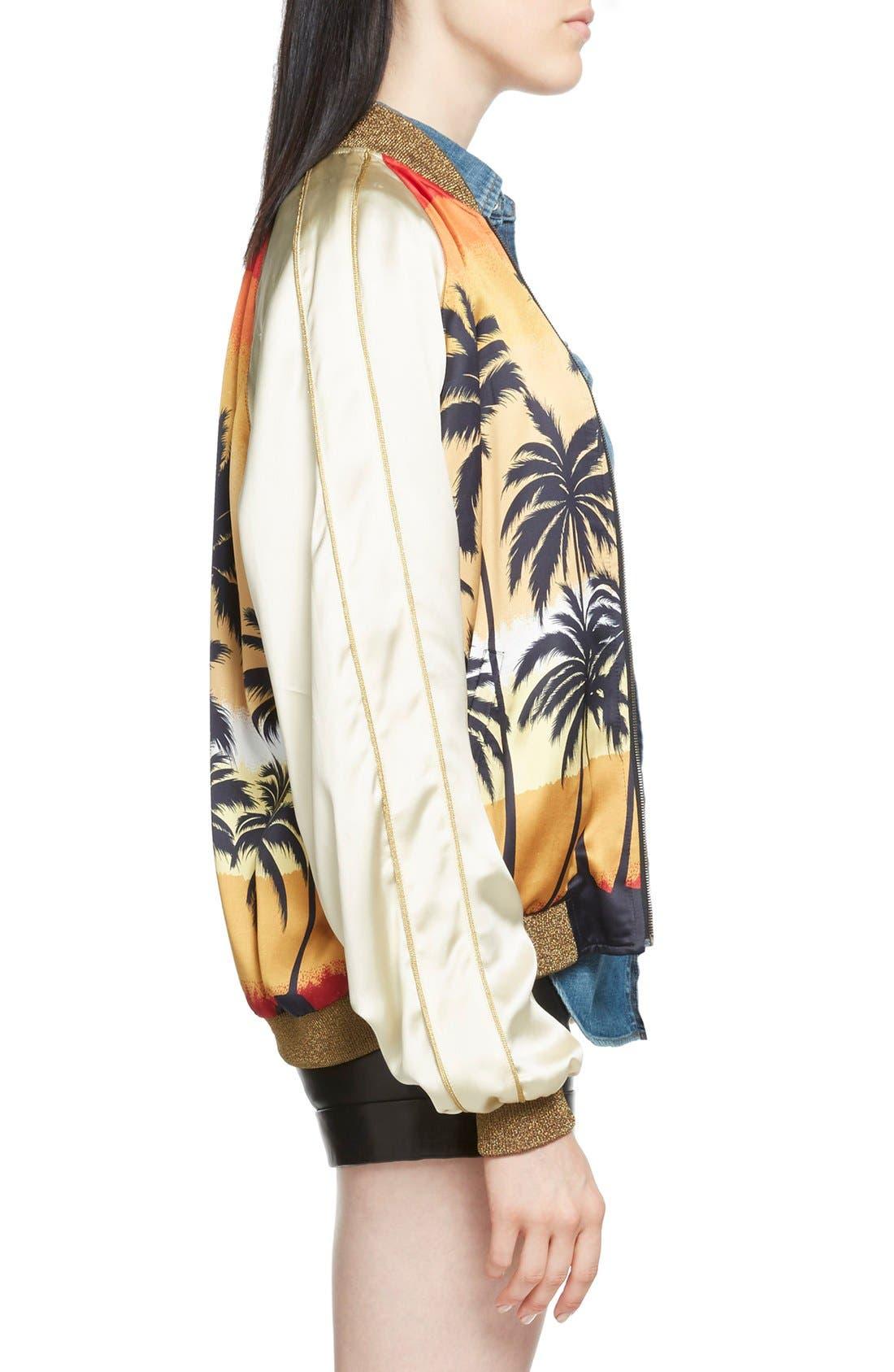 Alternate Image 4  - Saint Laurent Palm Print Raglan Bomber Jacket