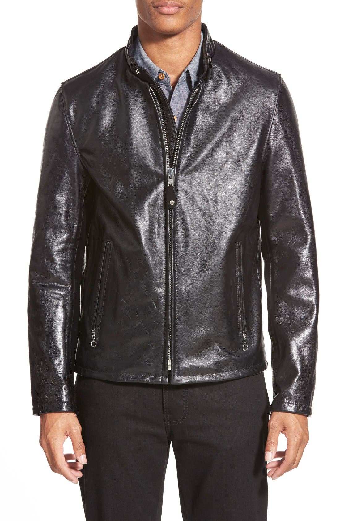 Main Image - Schott NYC 'Casual Café Racer' Slim Fit Leather Jacket