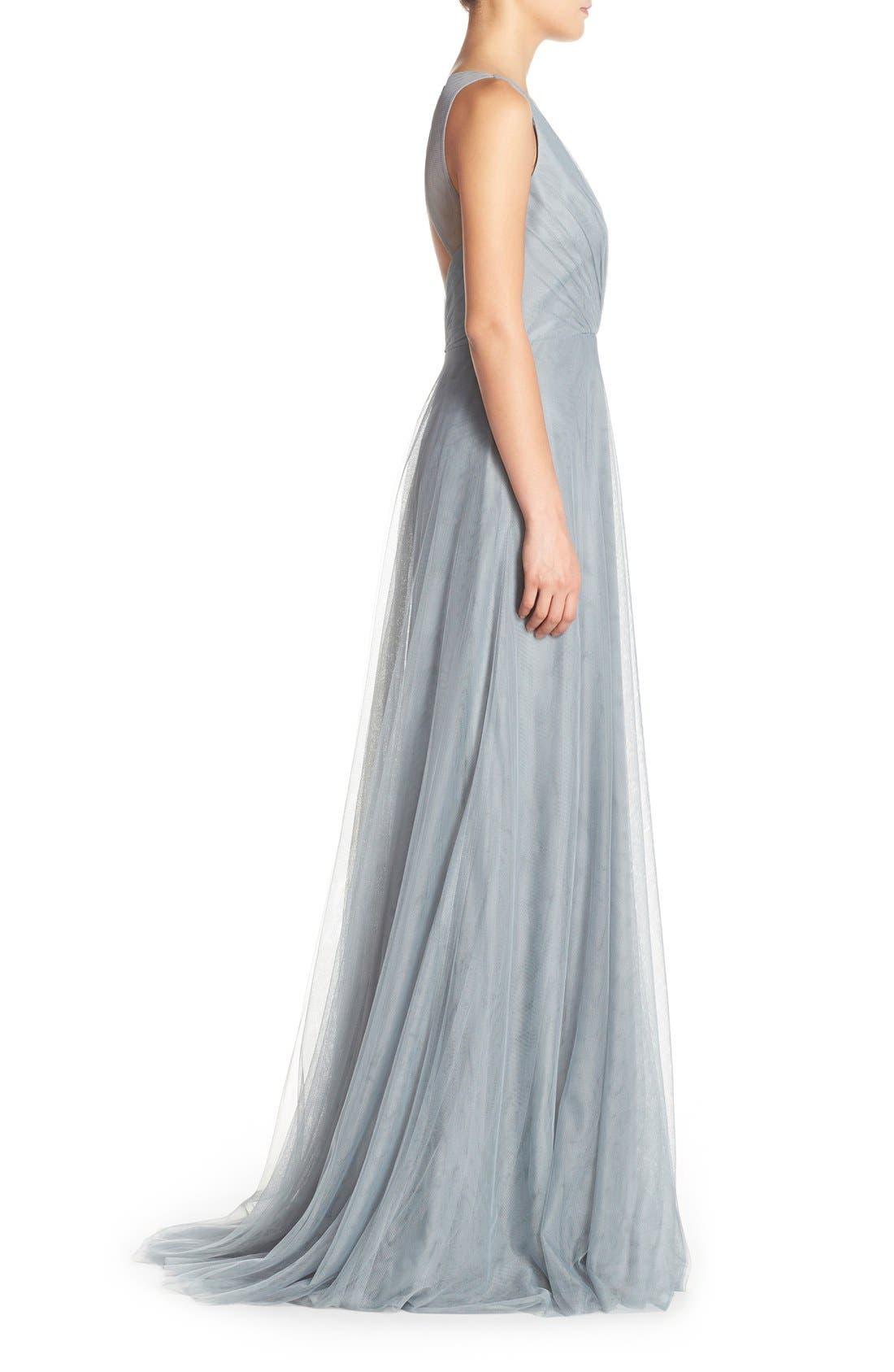 Alternate Image 3  - Monique Lhuillier Bridesmaids Back Cutout Pleat Tulle Gown
