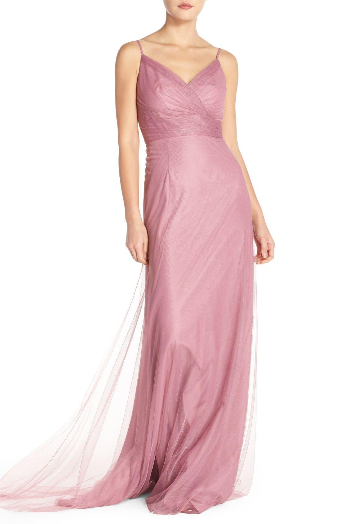 Surplice Tulle Gown,                         Main,                         color, Cerise