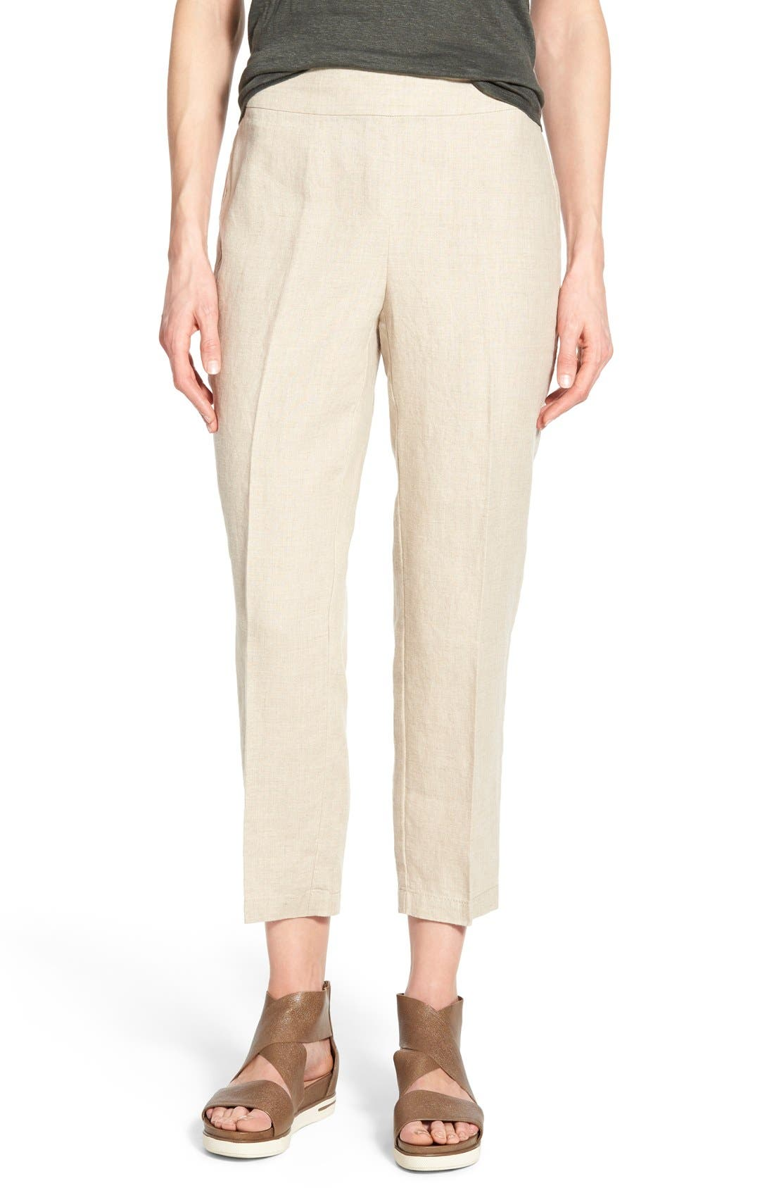 Organic Linen Crop Pants,                         Main,                         color, Natural