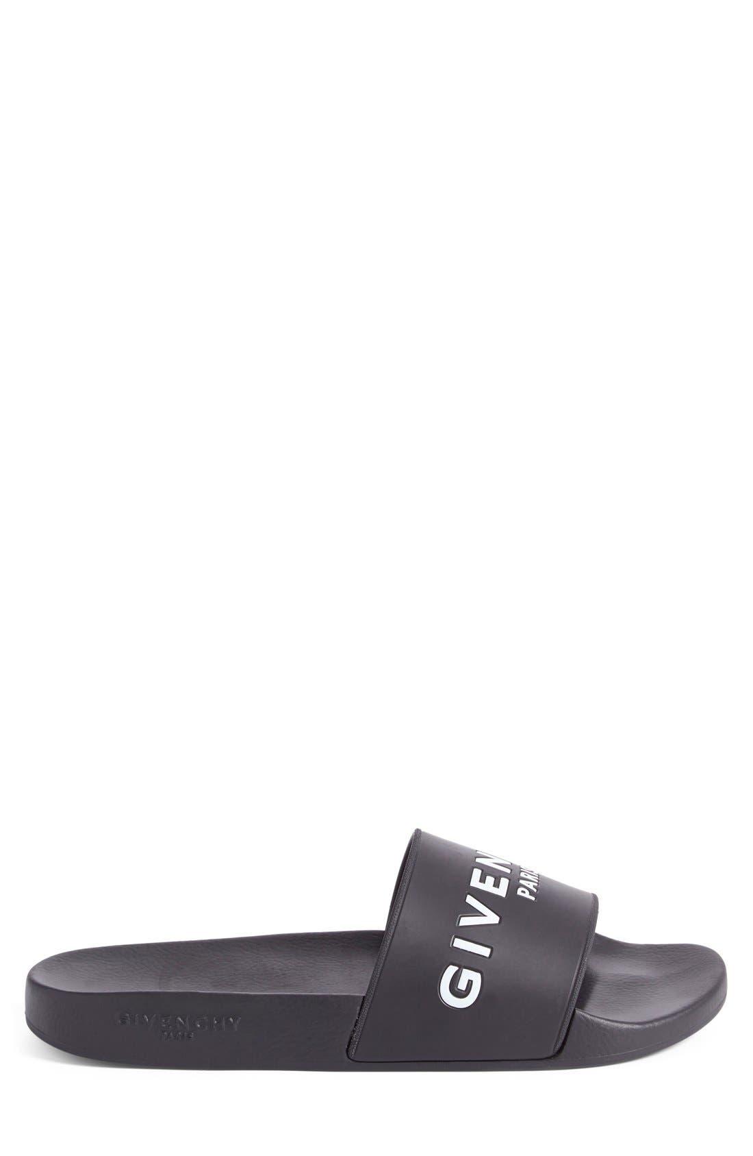 Slide Sandal,                             Alternate thumbnail 4, color,                             Black Leather