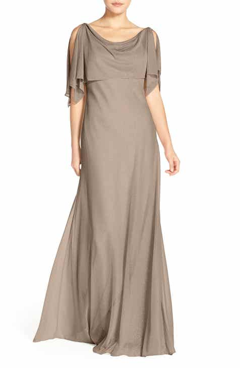 Jenny Yoo Devon Glitter Knit Gown with Detachable Capelet
