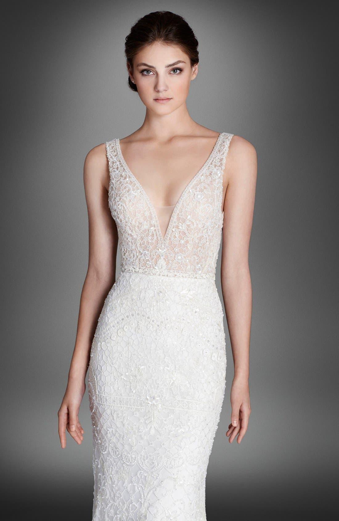 Alternate Image 3  - Lazaro Crystal Beaded Column Dress