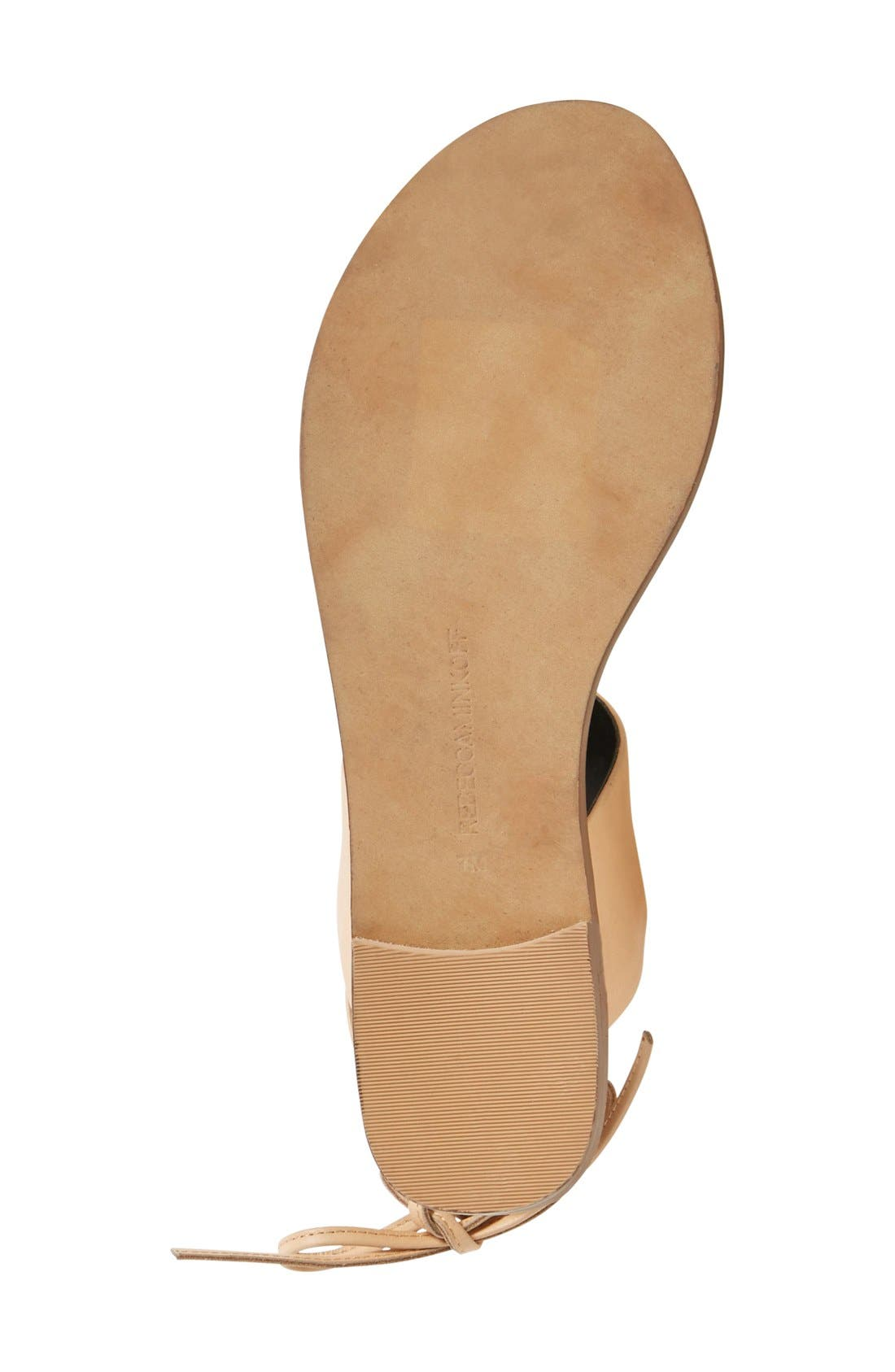 'Emma' Ankle Cuff Sandal,                             Alternate thumbnail 4, color,                             Nude Vachetta