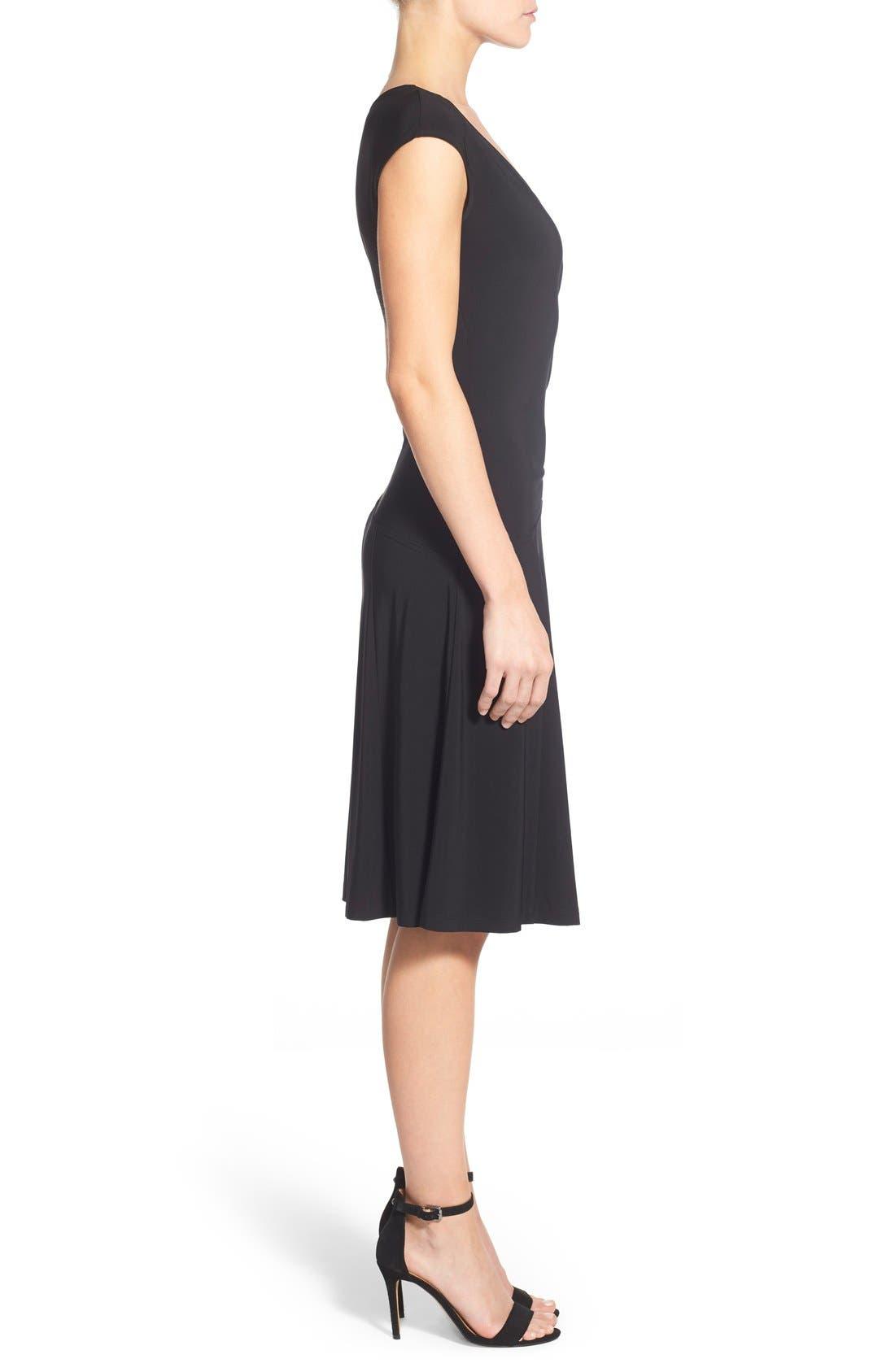 Matte Jersey Faux Wrap Fit & Flare Dress,                             Alternate thumbnail 3, color,                             Black Onyx