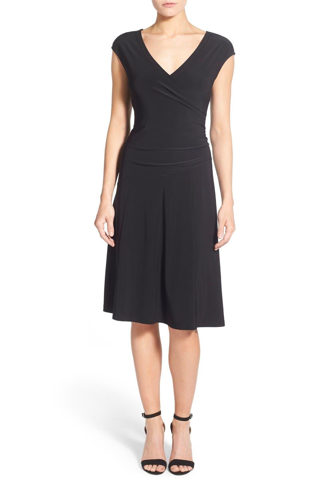 Matte Jersey Faux Wrap Fit & Flare Dress,                             Main thumbnail 1, color,                             Black Onyx