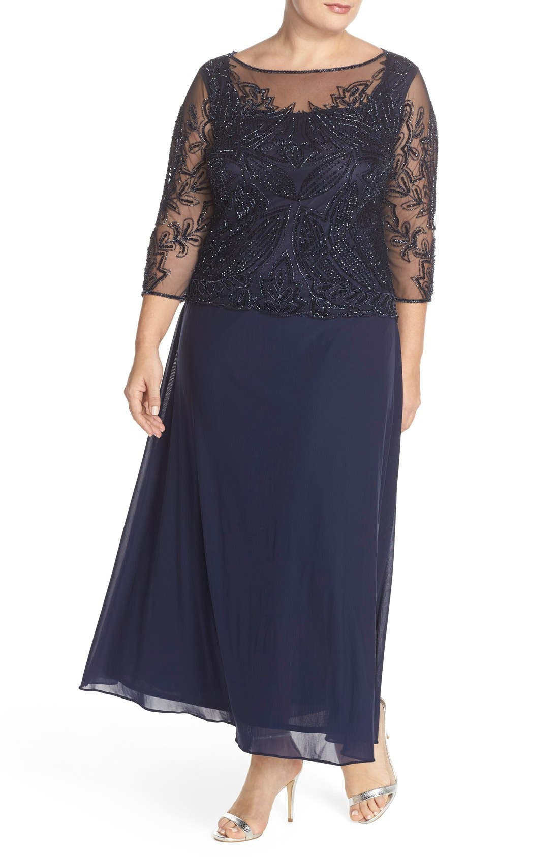 Illusion Neck Beaded A-Line Gown,                             Alternate thumbnail 4, color,                             Navy