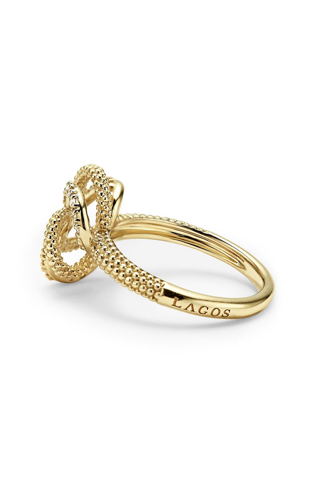 'Love Knot' Diamond Ring,                             Alternate thumbnail 2, color,                             Gold