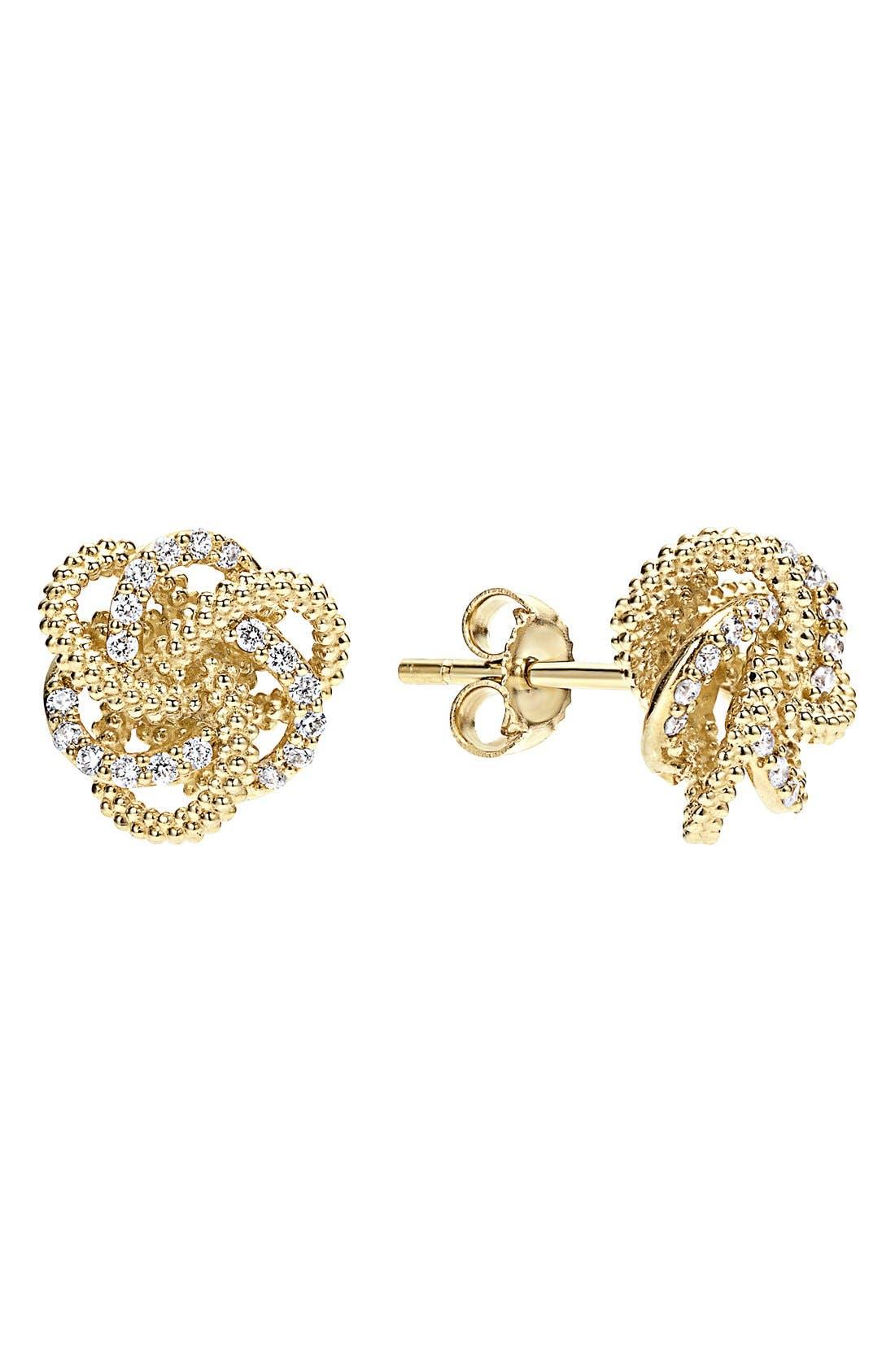 'Love Knot' Diamond Stud Earrings,                             Main thumbnail 1, color,                             Gold