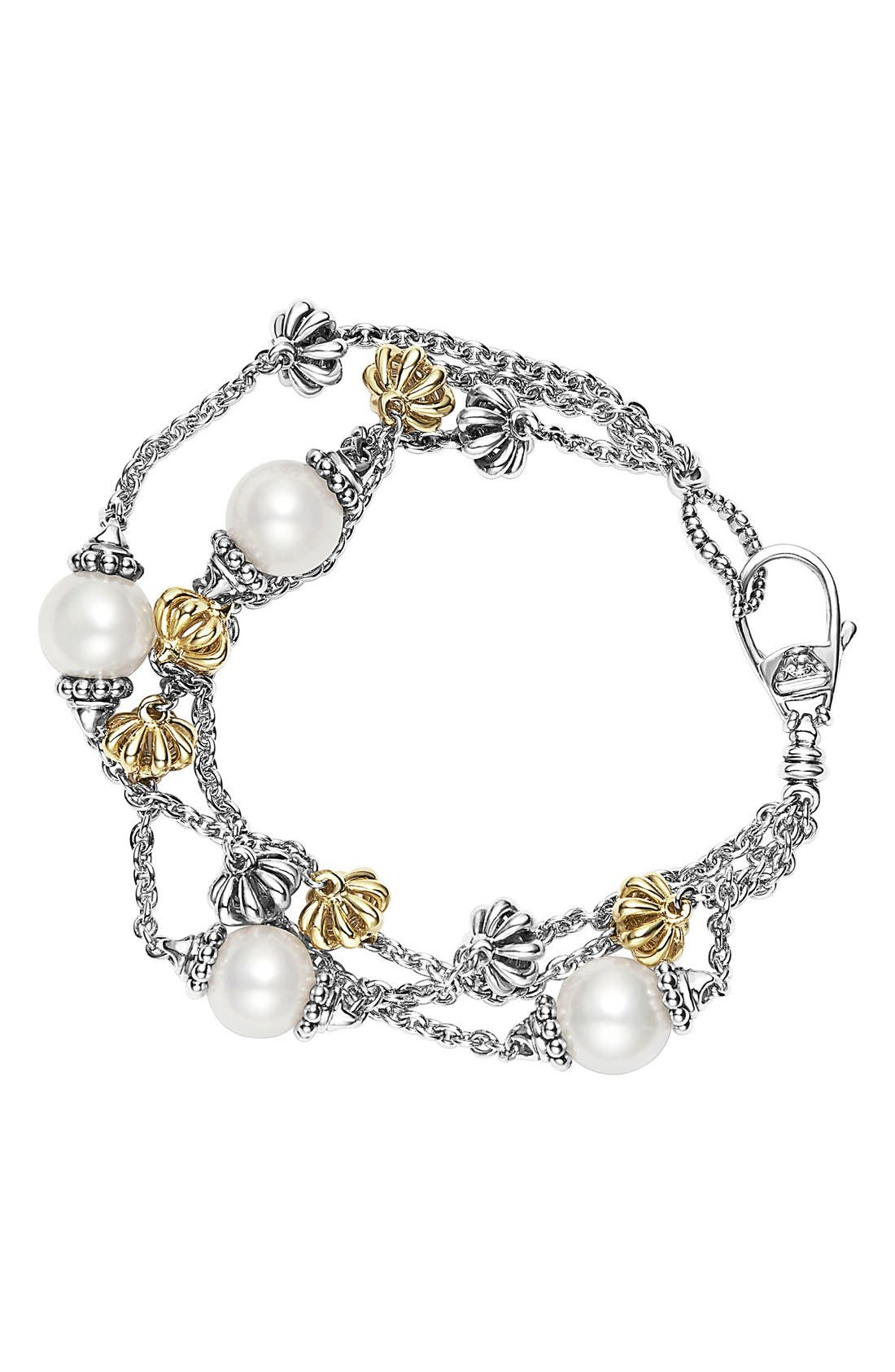 'Luna' Pearl Three-Strand Line Bracelet,                         Main,                         color, Silver/ Gold/ Pearl