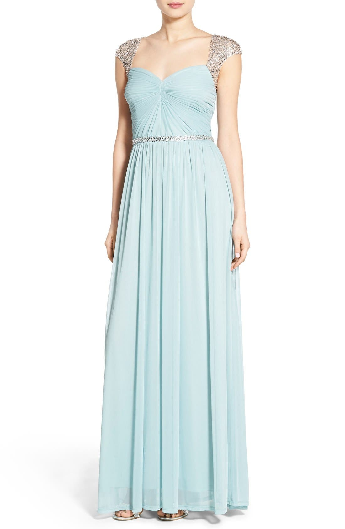 Main Image - Adrianna Papell Embellished Ruched Jersey Gown