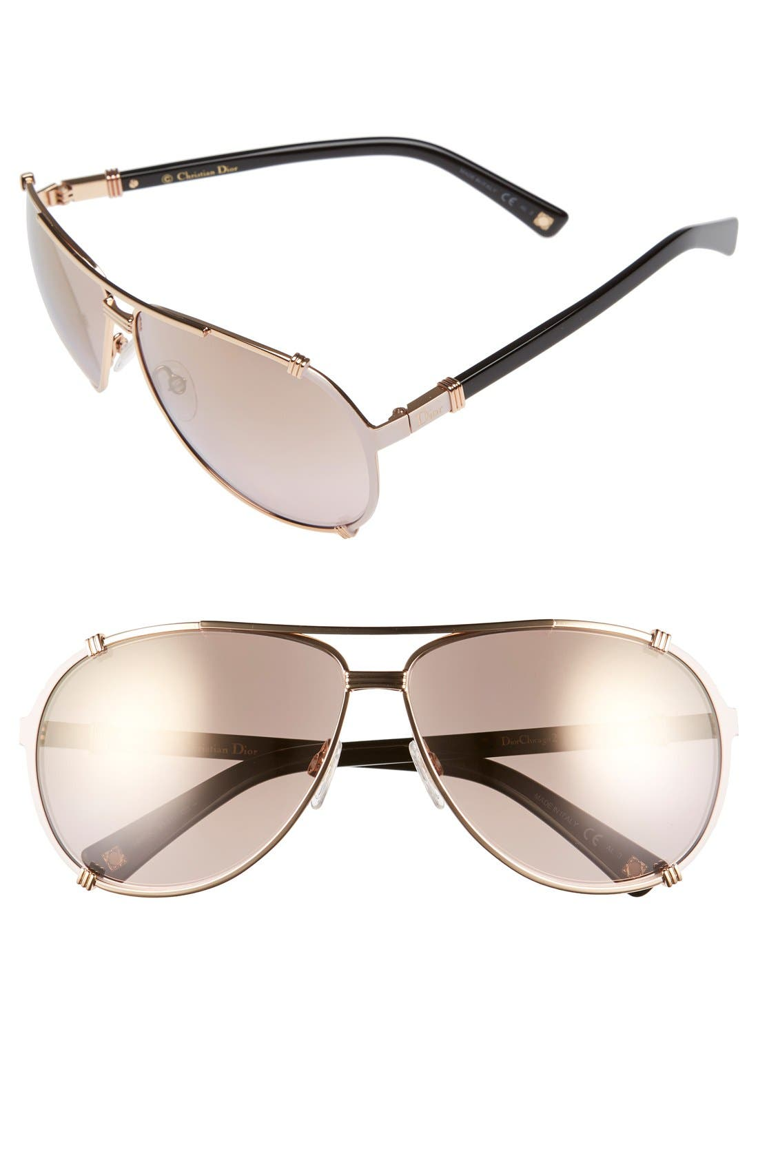'Chicago' 63mm Metal Aviator Sunglasses,                         Main,                         color, Gold/ Soft Pink