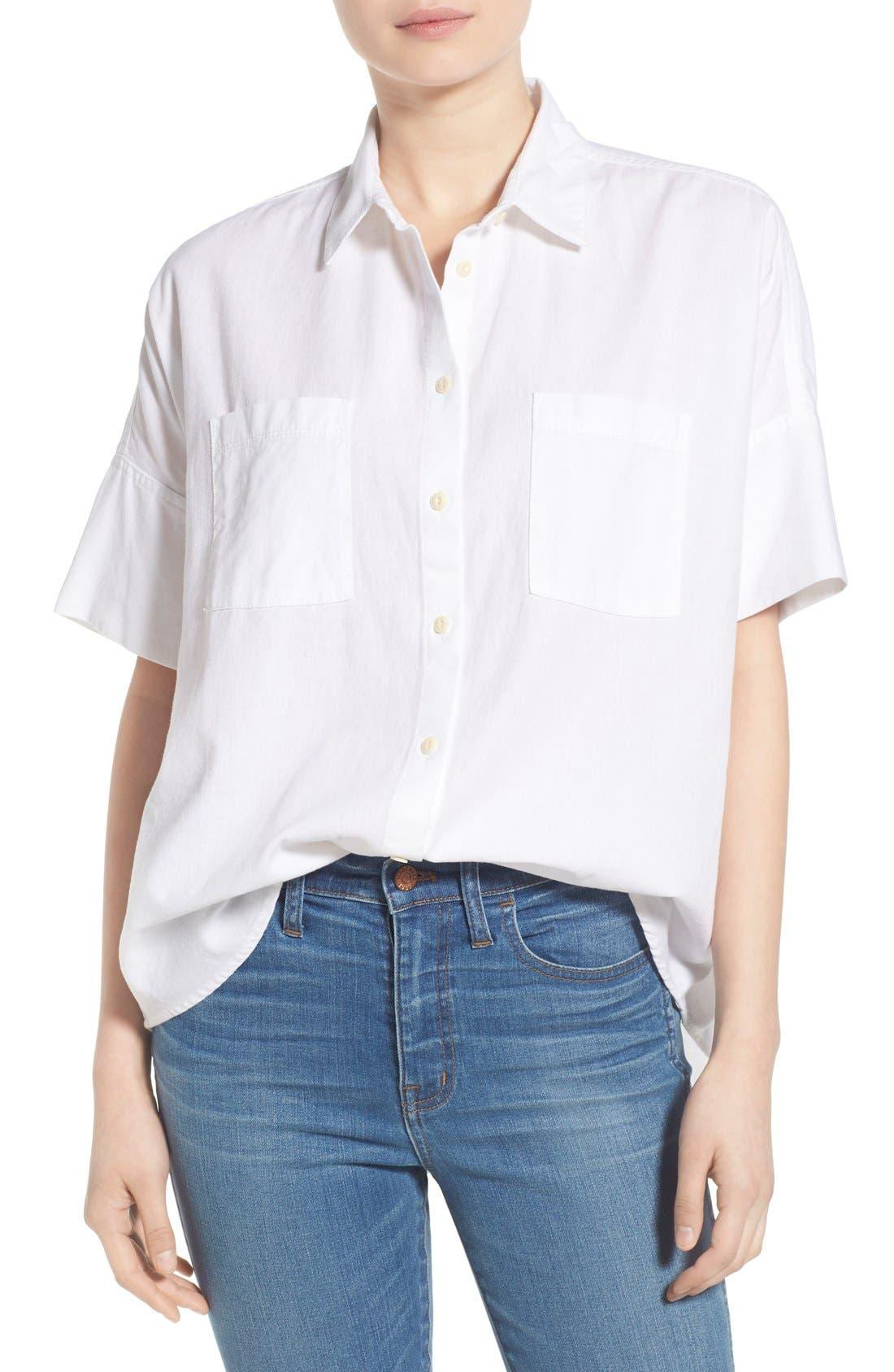Cotton Courier Shirt,                         Main,                         color, Pure White