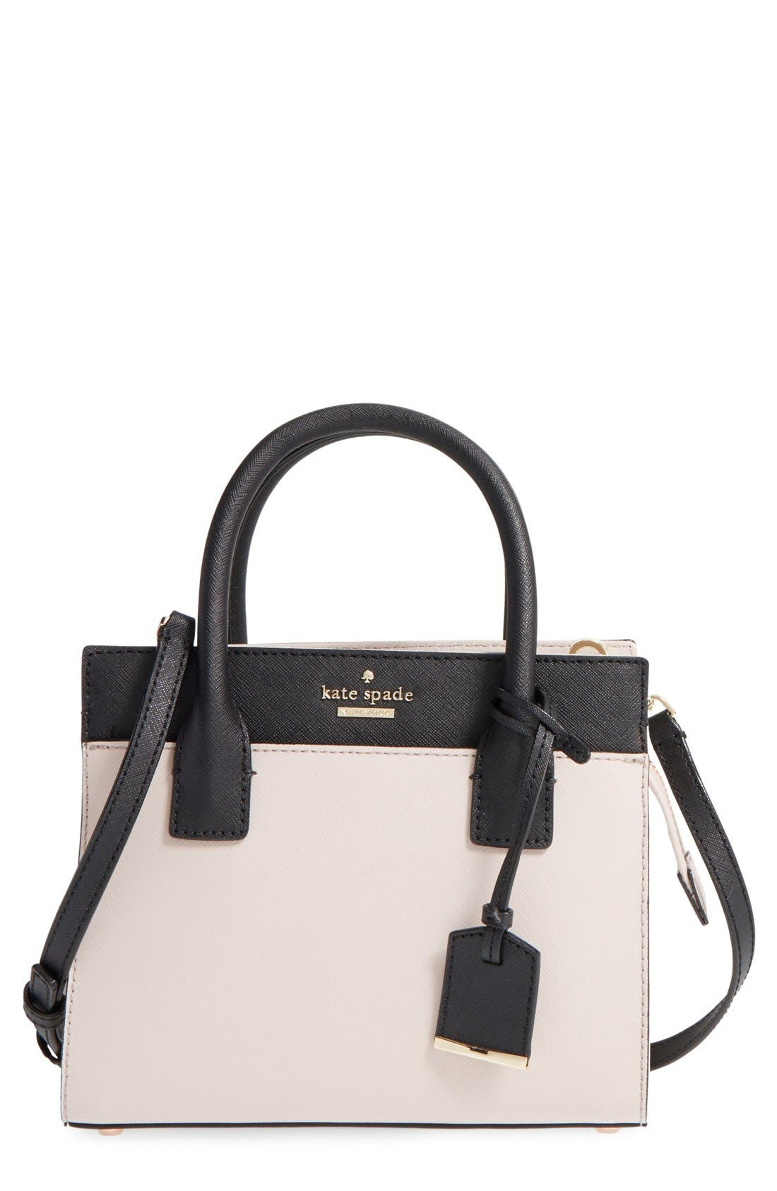 'cameron street - mini candace' leather satchel,                             Main thumbnail 1, color,                             Crisp Linen/ Cement/ Black