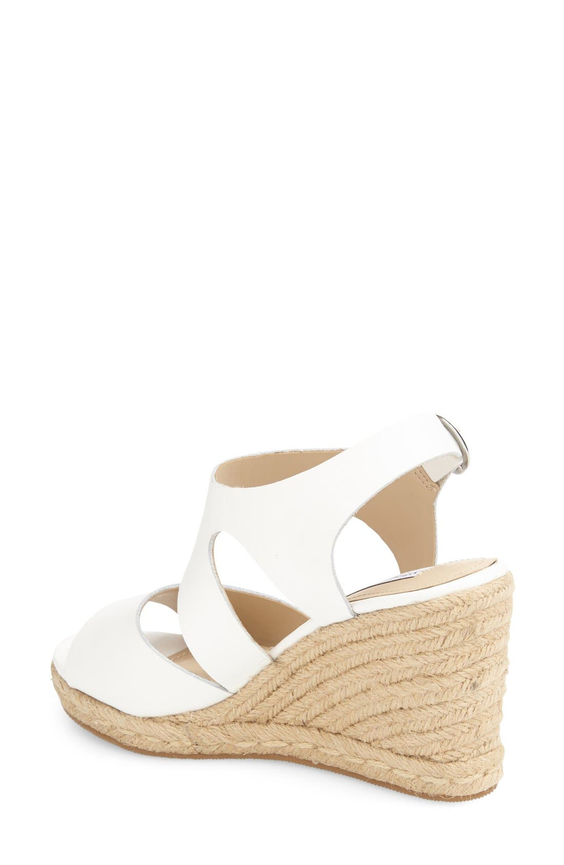 'Wavi' Espadrille Wedge Sandal,                             Alternate thumbnail 2, color,                             White Leather